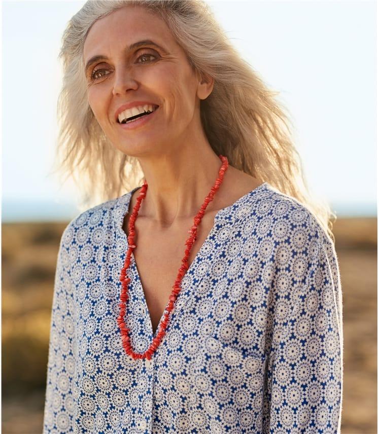 Womens Grandad Collar Shirt