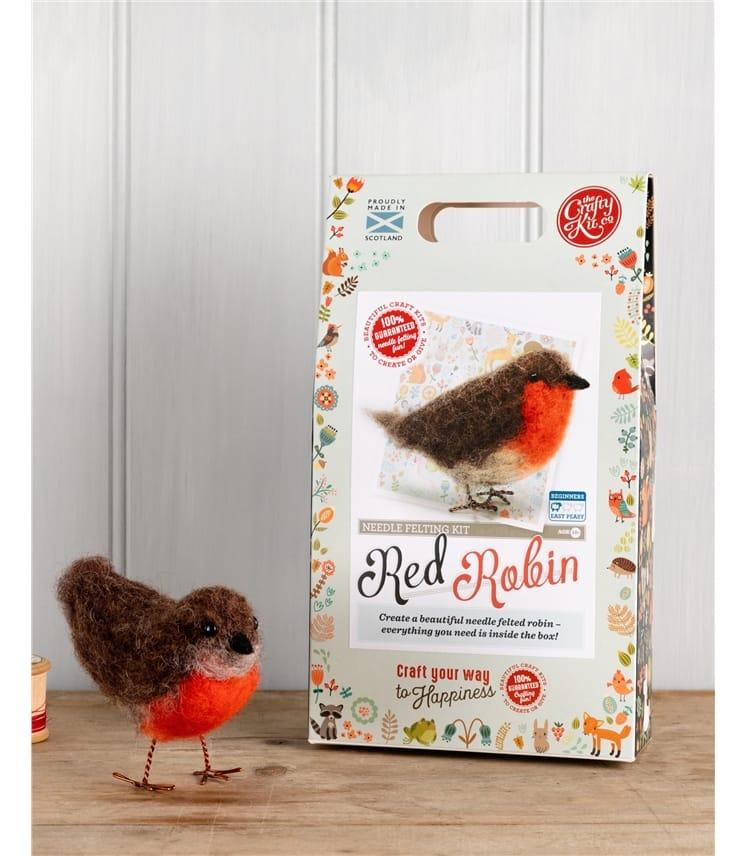 Kit oiseau Rouge Gorge en feutre à fabriquer - Maison - Pure Laine