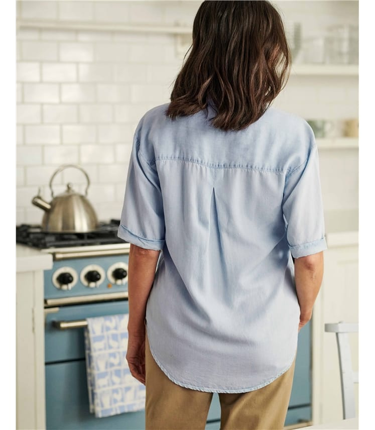 Chemise Chambray à manches courtes - Femme - Lyocell