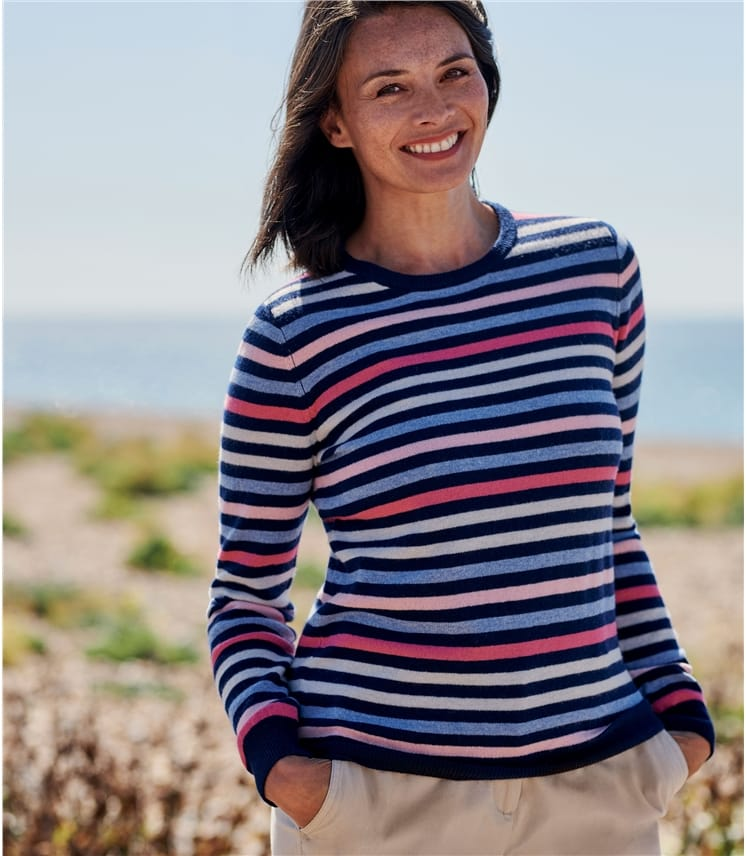 Womens Cashmere Merino Stripe Crew Neck Jumper