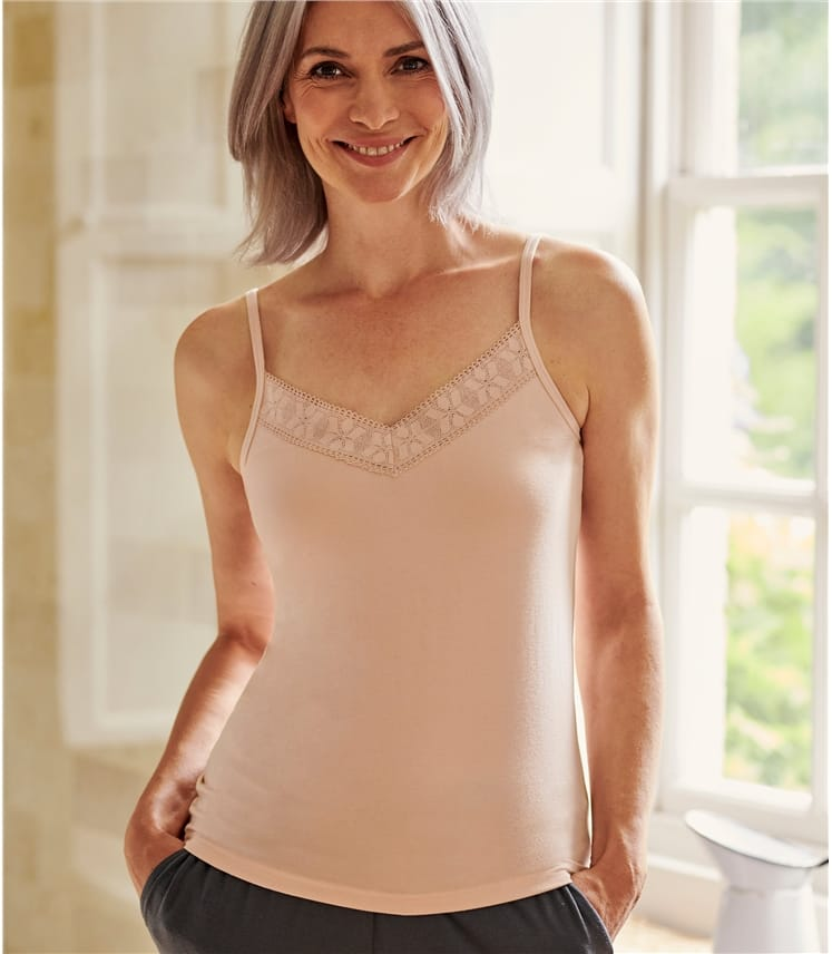 Womens Lace Trim Cami Top