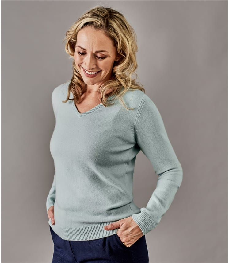3c59a88974f55 Dusty Mint Pure Cashmere | Womens Pure Cashmere V Neck Sweater