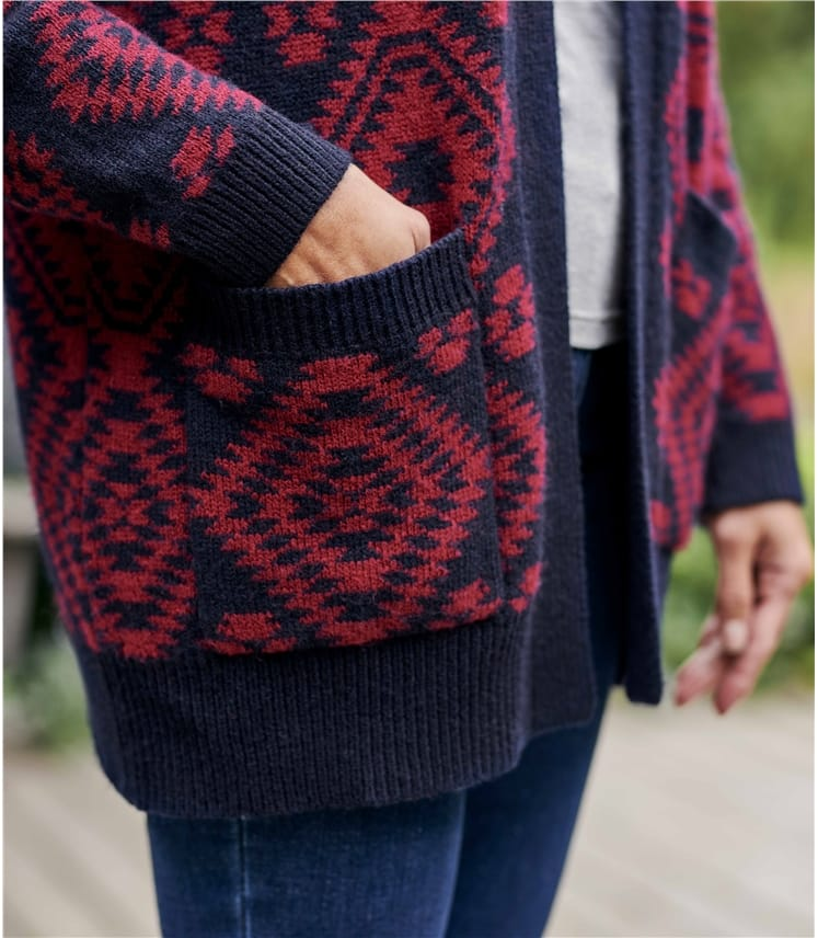 Womens All Over Aztec Edge To Edge Cardigan