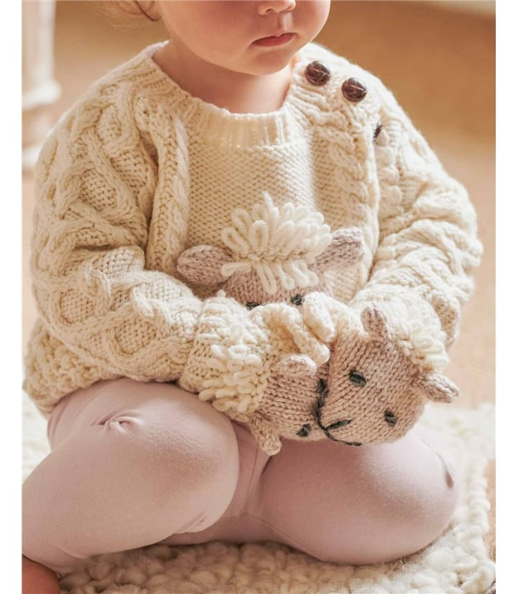 Baby Sheep Knitted Mittens