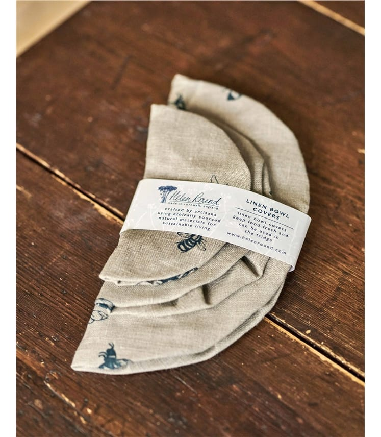 Hand Printed Linen Reusable Bowl Cover 3 Pack