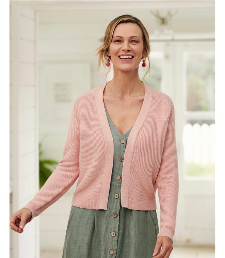Organic Cotton Textured Cropped Cardigan