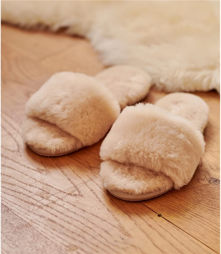 Womens Open Toe Sheepskin Mule