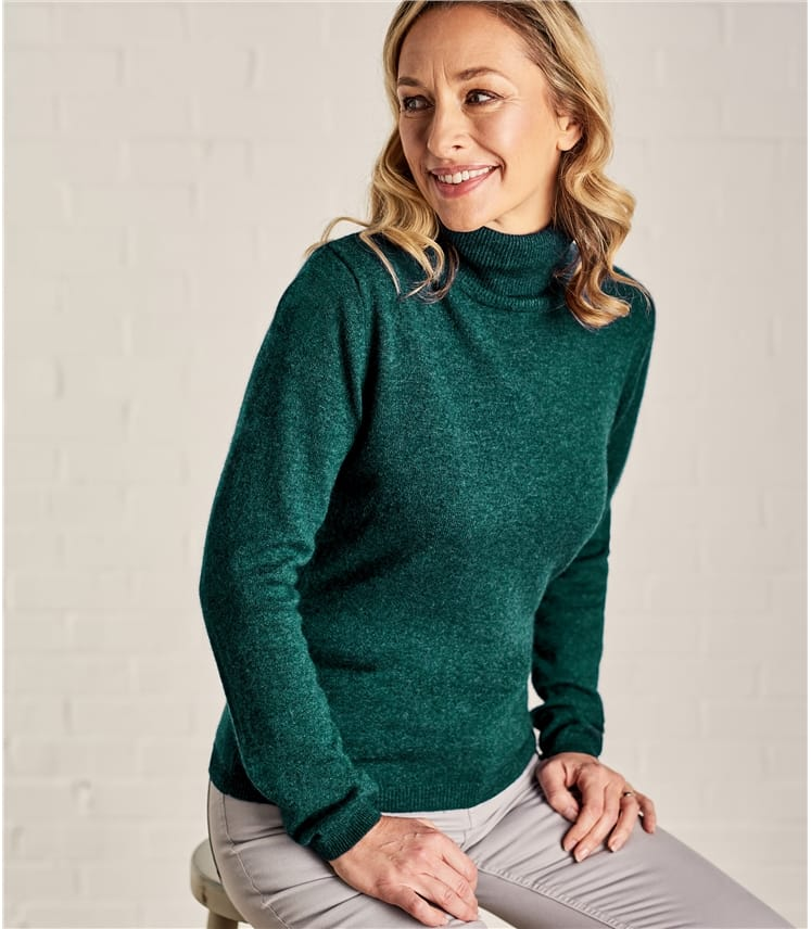 b5c27555f896b Womens Cashmere and Merino Fitted Turtle Neck Knitted Sweater in Teal Marl