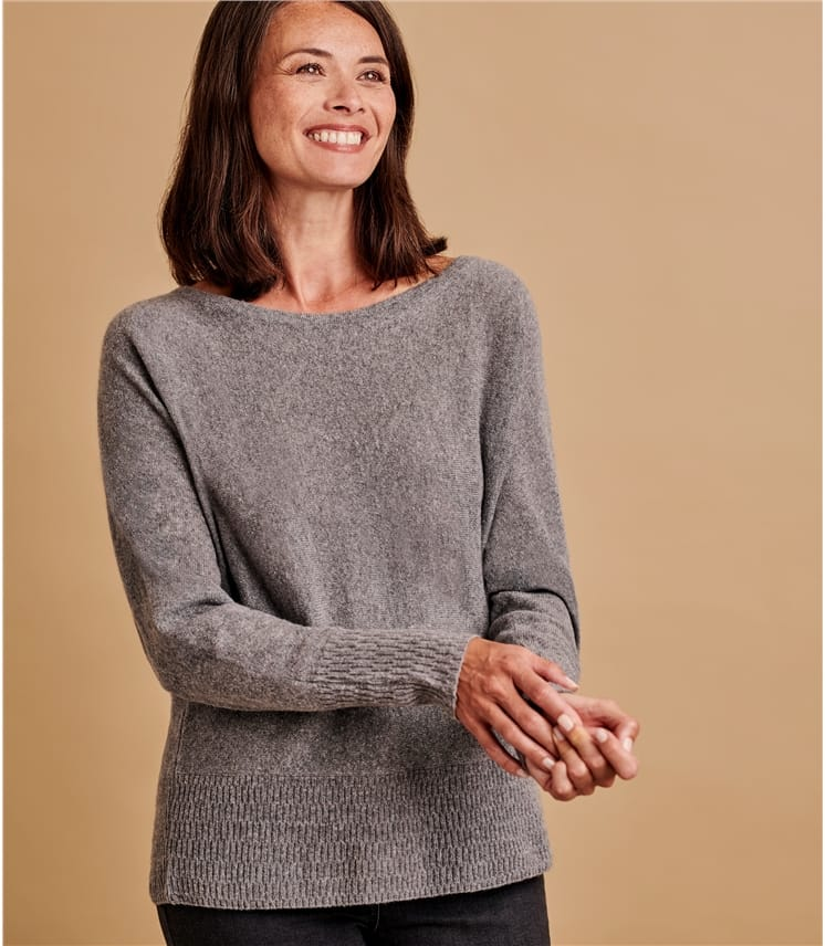 Womens Recycled Cashmere Textured Hem Sweater