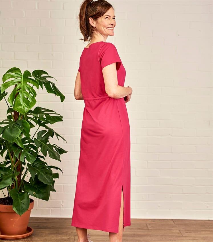 Jersey Maxi Kleid mit geschnürter Taille aus Baumwolle und Modal für Damen