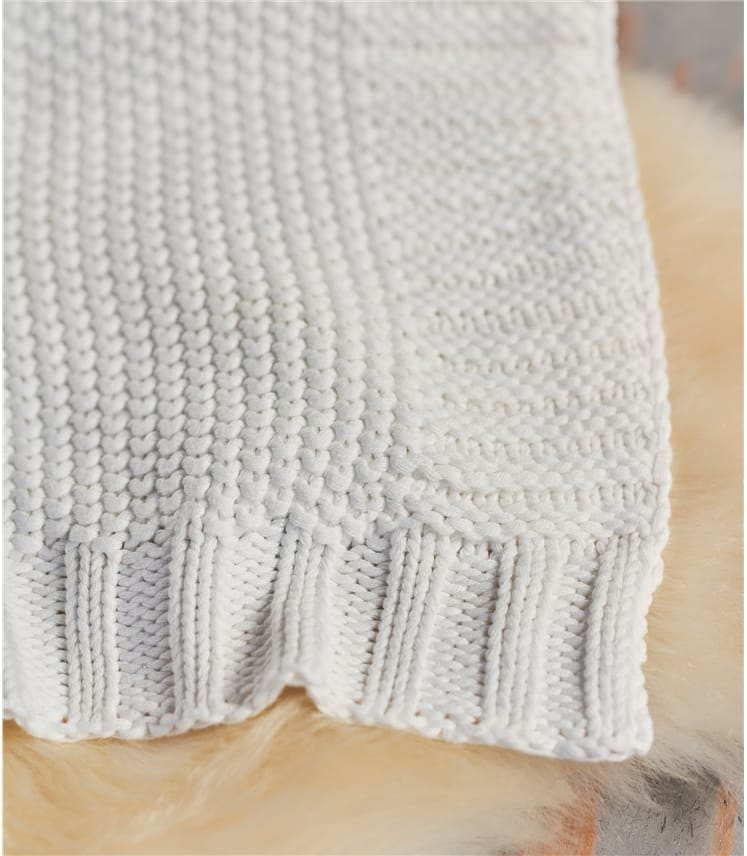 100% Cotton Moss Stitch Blanket