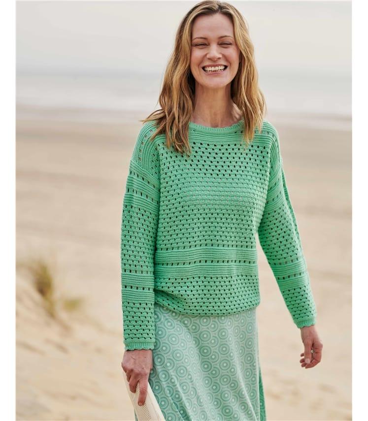Organic Cotton Pointelle Sweater