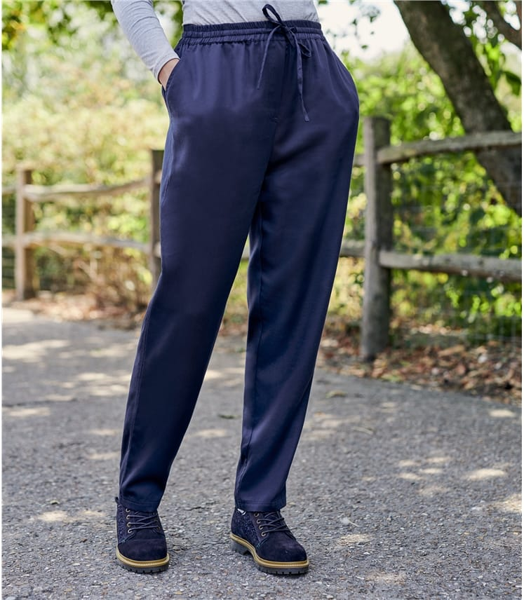 Womens Tie Waist Tapered Leg Trousers