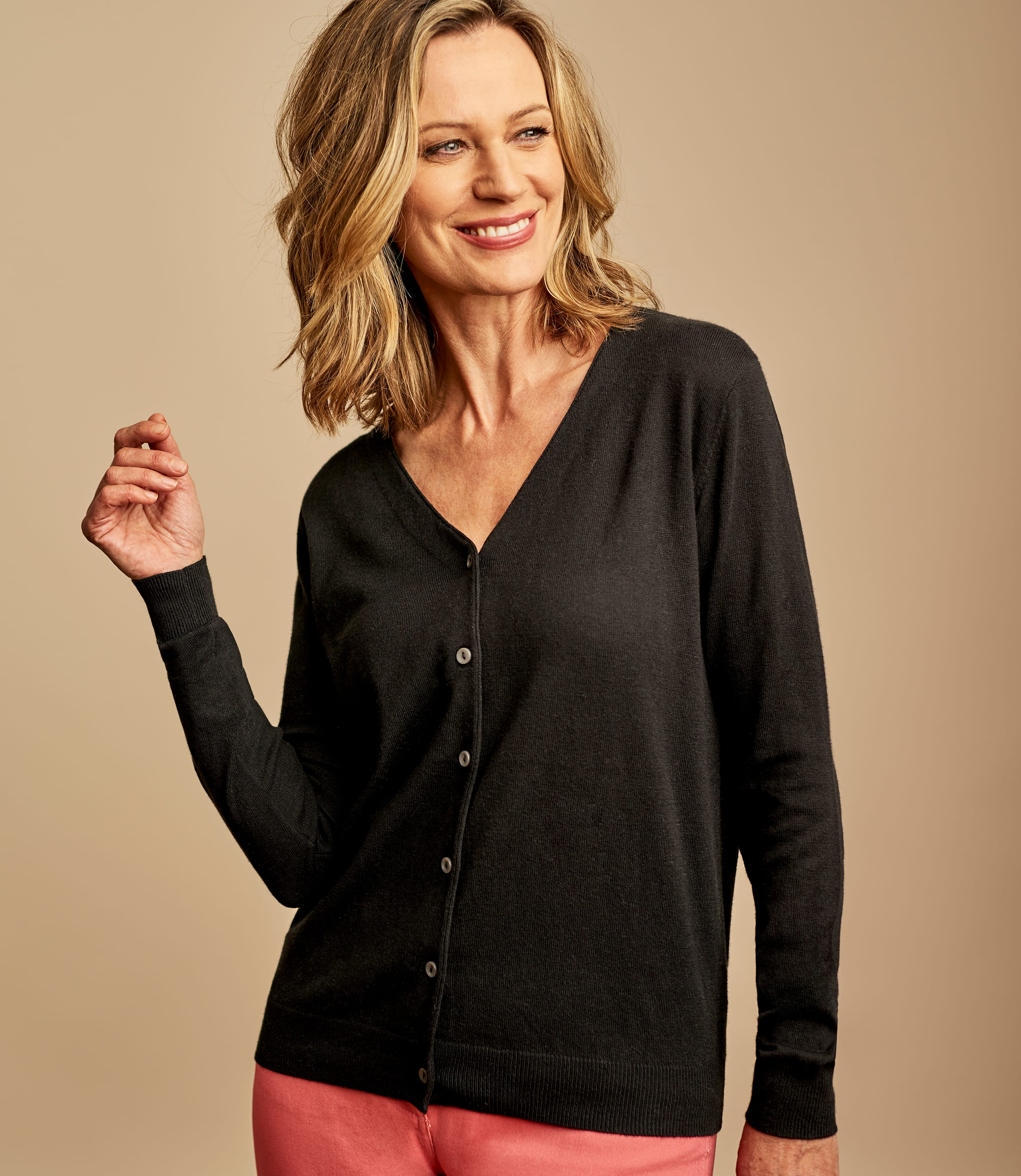 Black | Womens Silk & Cotton Soft Feel V Neck Cardigan