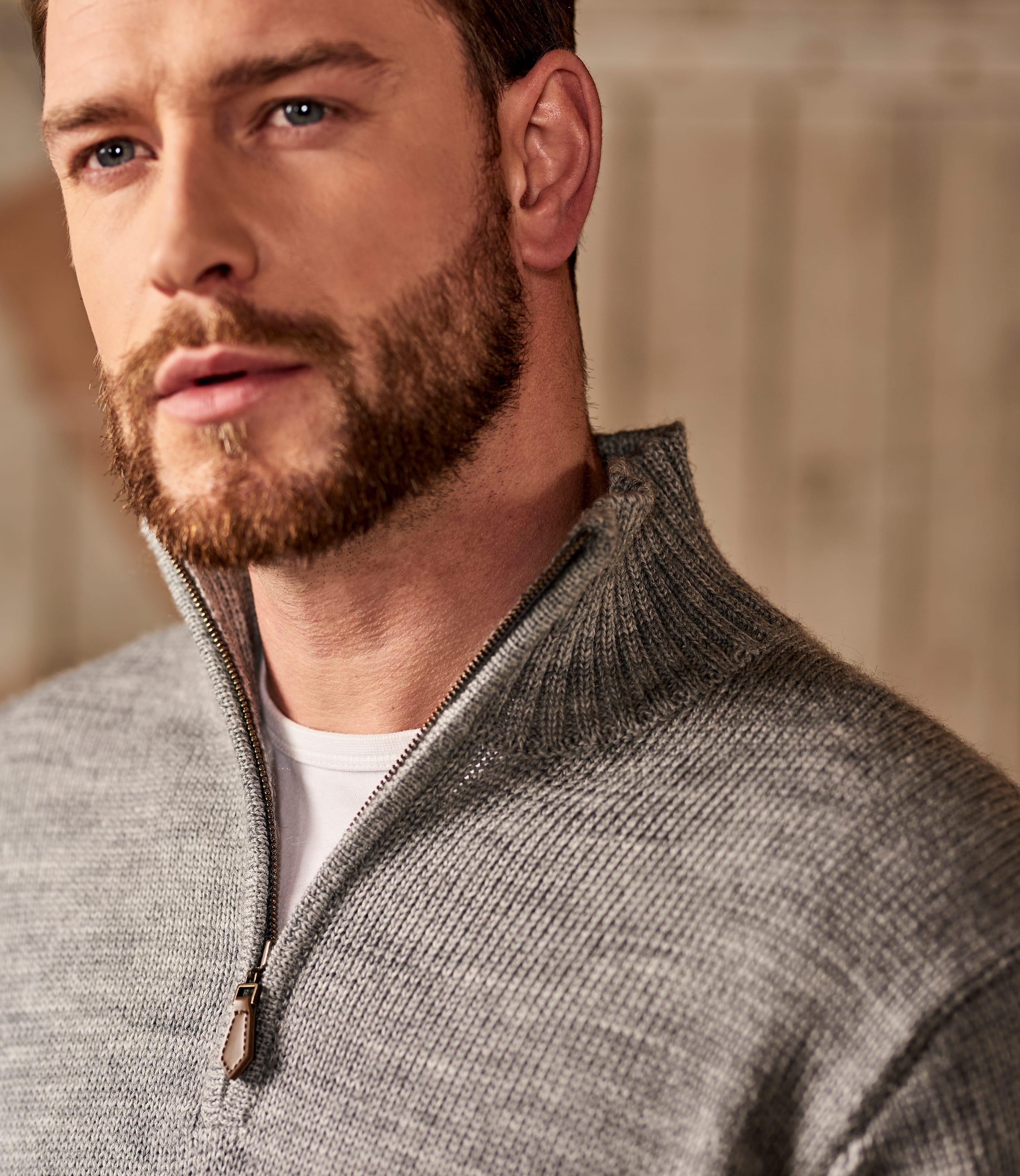 100% Pure Wool Country Zip Neck Jumper