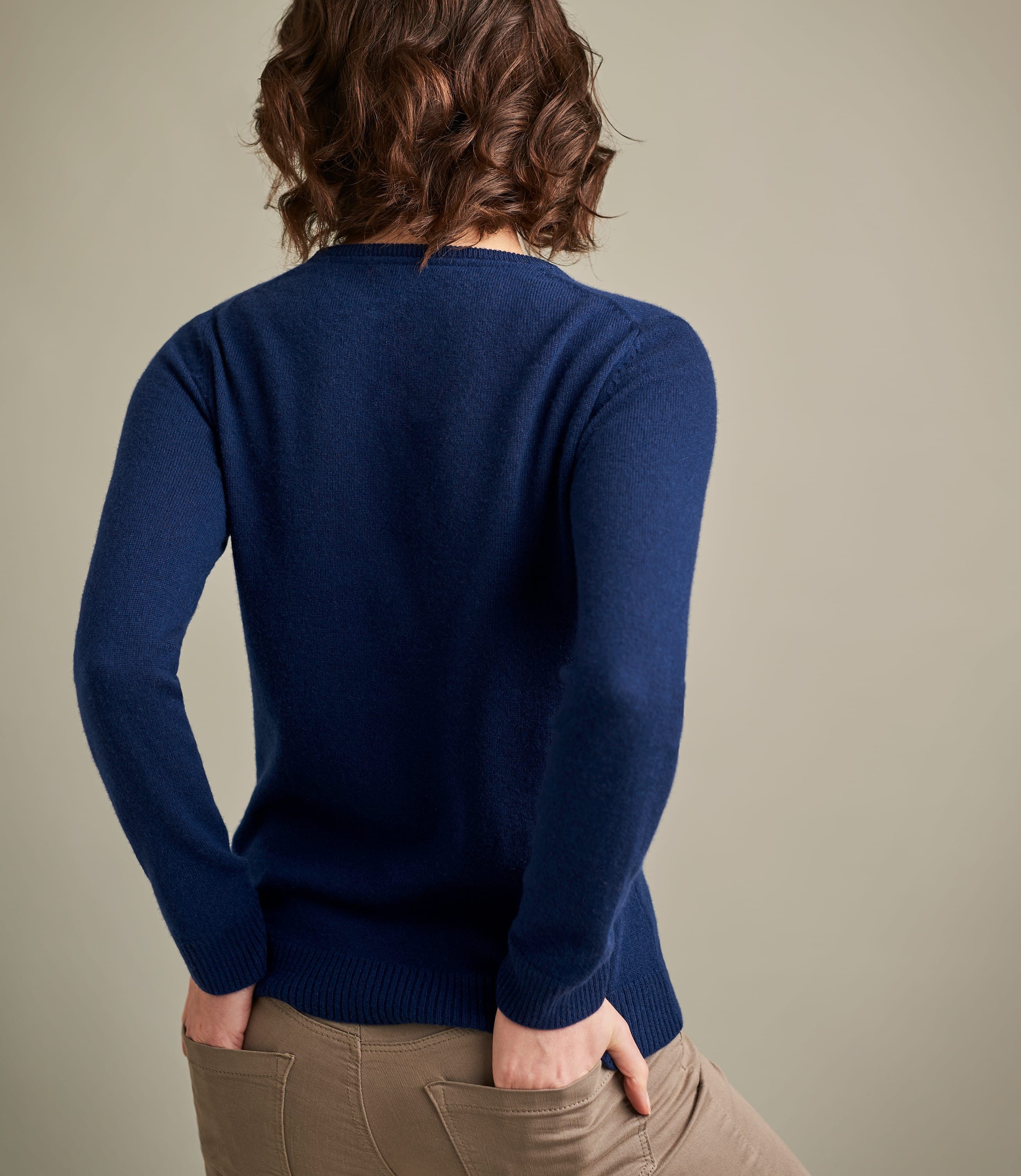 Navy | Womens Pure Cashmere Crew Neck Jumper | WoolOvers UK