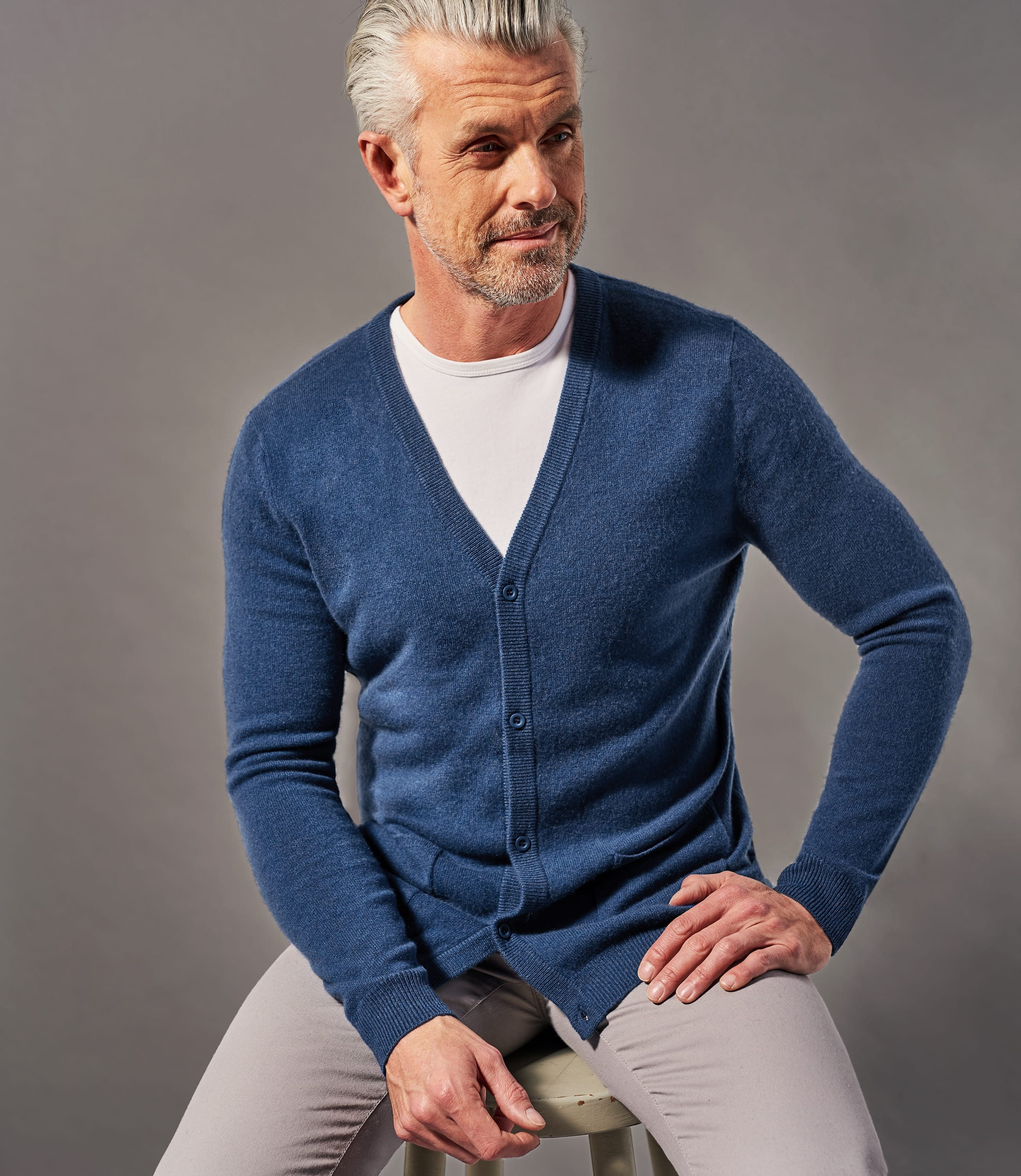 Mens Pure Cashmere V Neck Cardigan