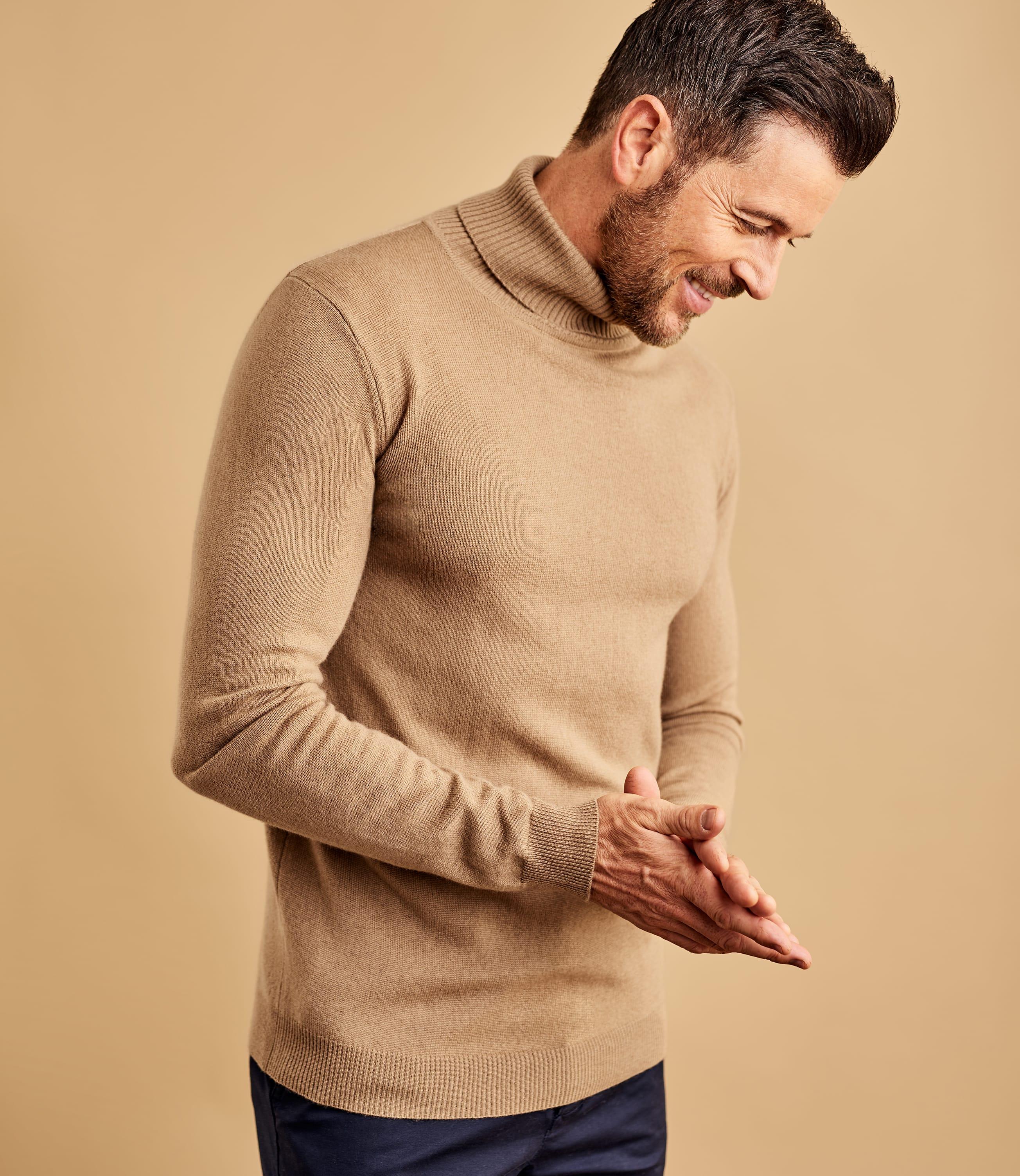 Mens Cashmere and Merino Turtle Neck Sweater