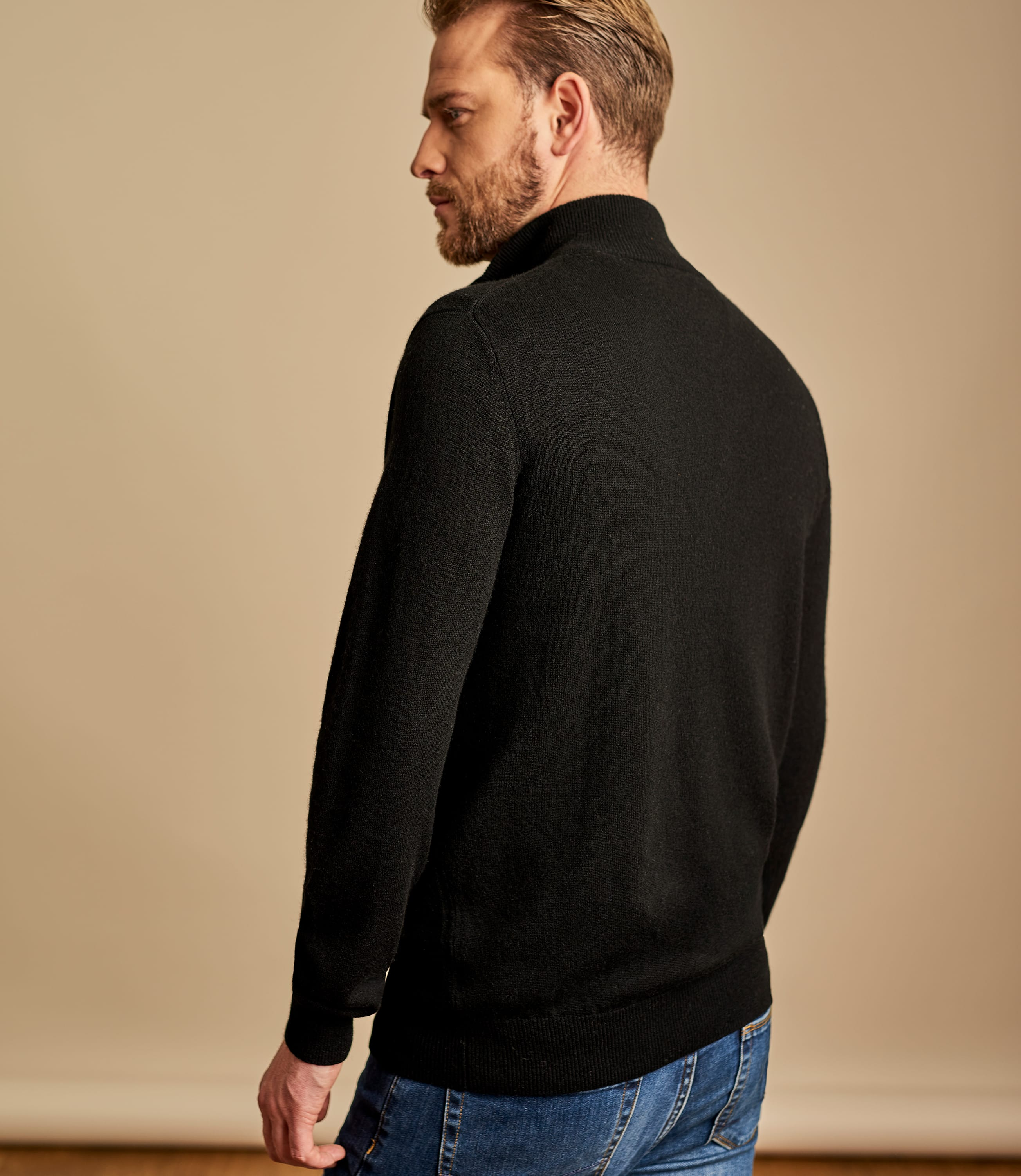 Cashmere and Merino Zip Neck Jumper