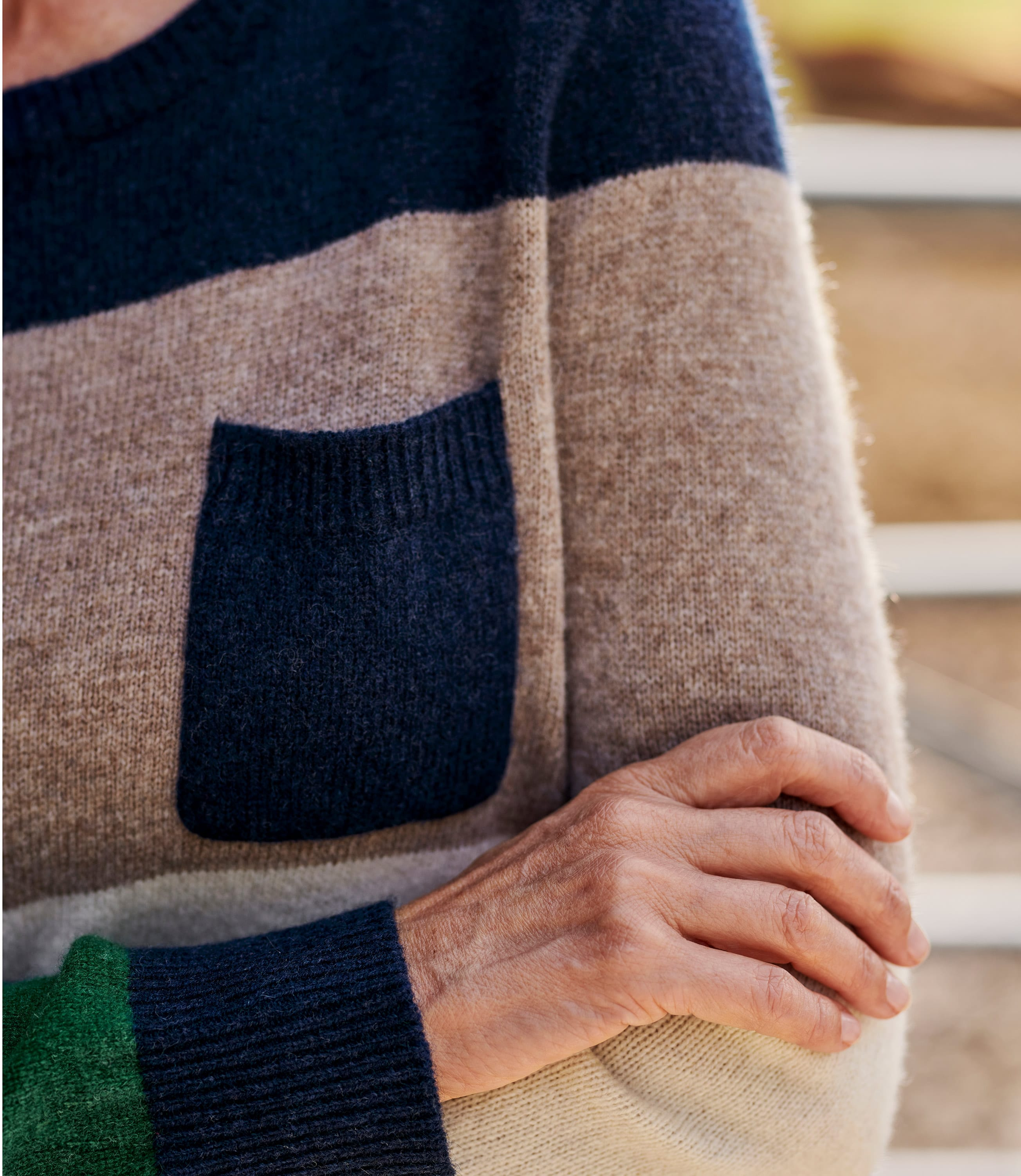 Lambswool Wide Stripe Colour Block Jumper