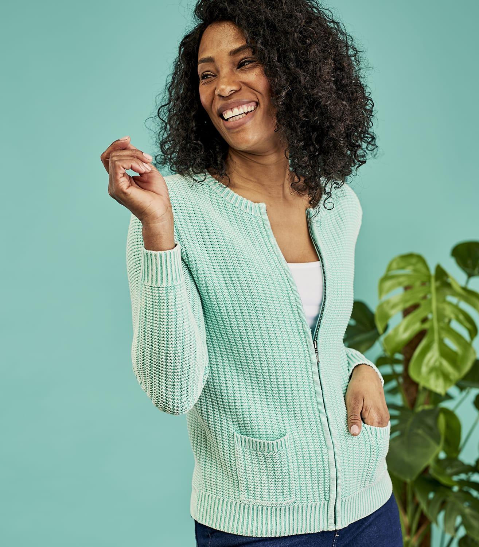 Cardigan texturé à fermeture éclair - Femme - Pur Coton L Vert