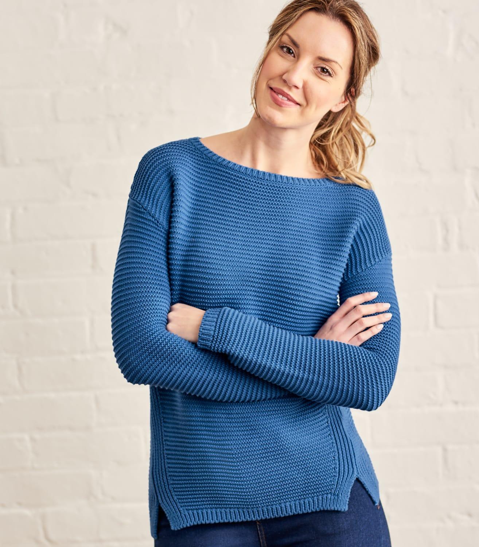 Pull texturé à col bateau - Femme - Pur Coton XS Bleu atlantique