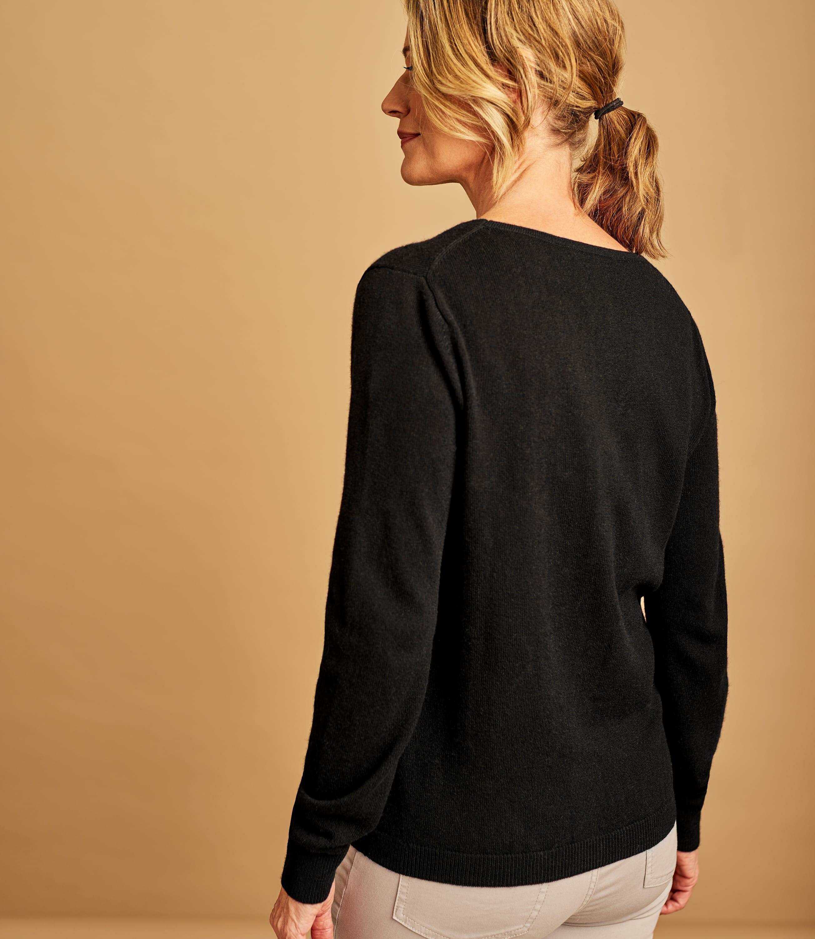 Strickjacke mit V-Ausschnitt aus Merino- und Kaschmirwolle für Damen