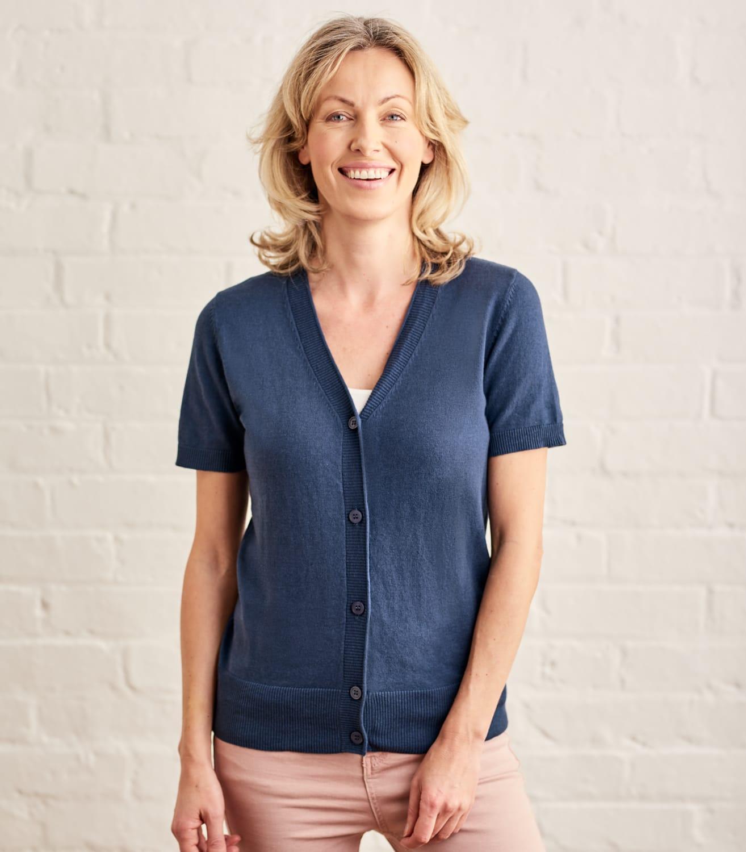 Cardigan à manches courtes - Femme - Soie & Coton L Bleu Oxford