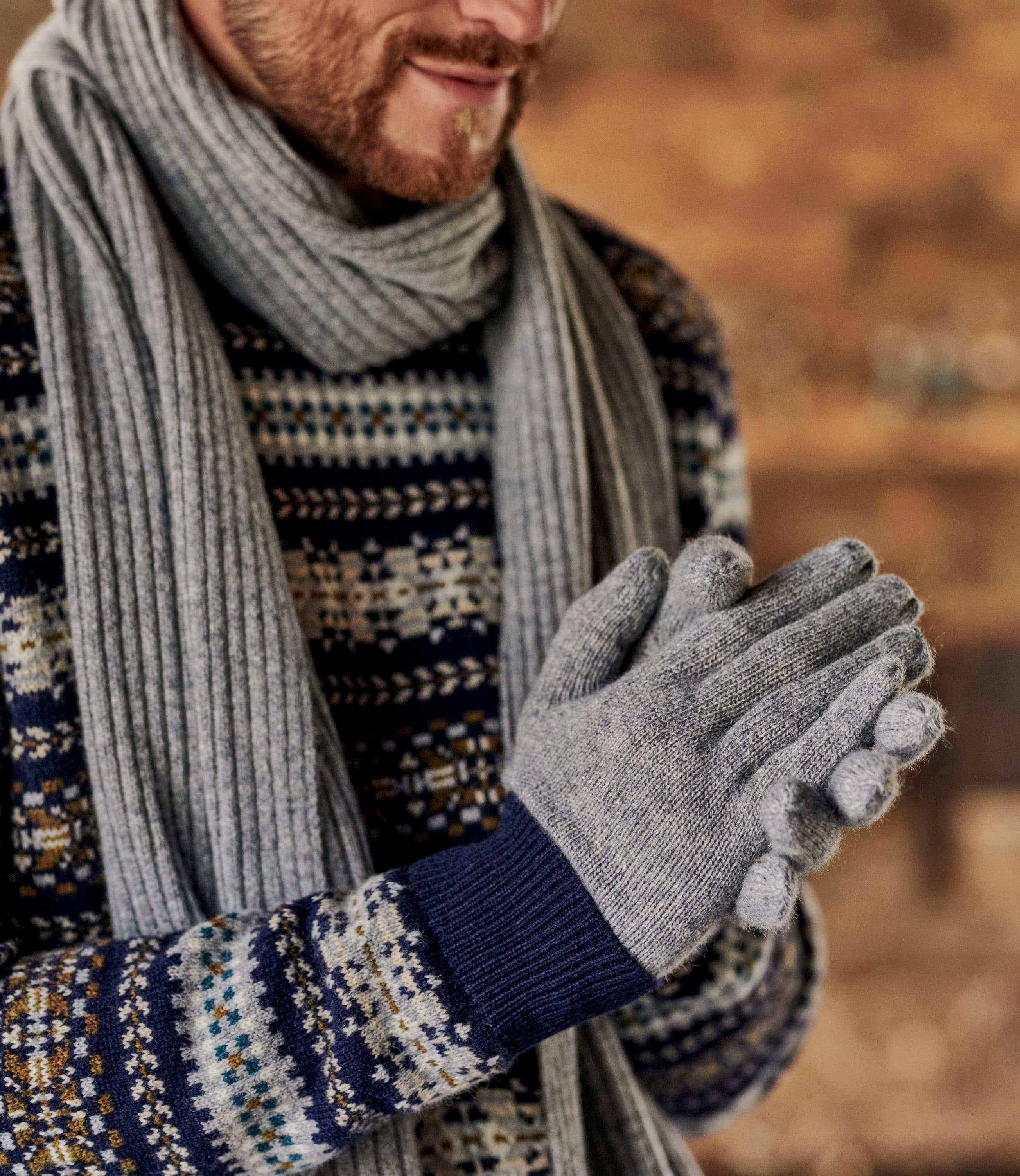 Handschuhe mit Rippbündchen aus Kaschmir für Herren