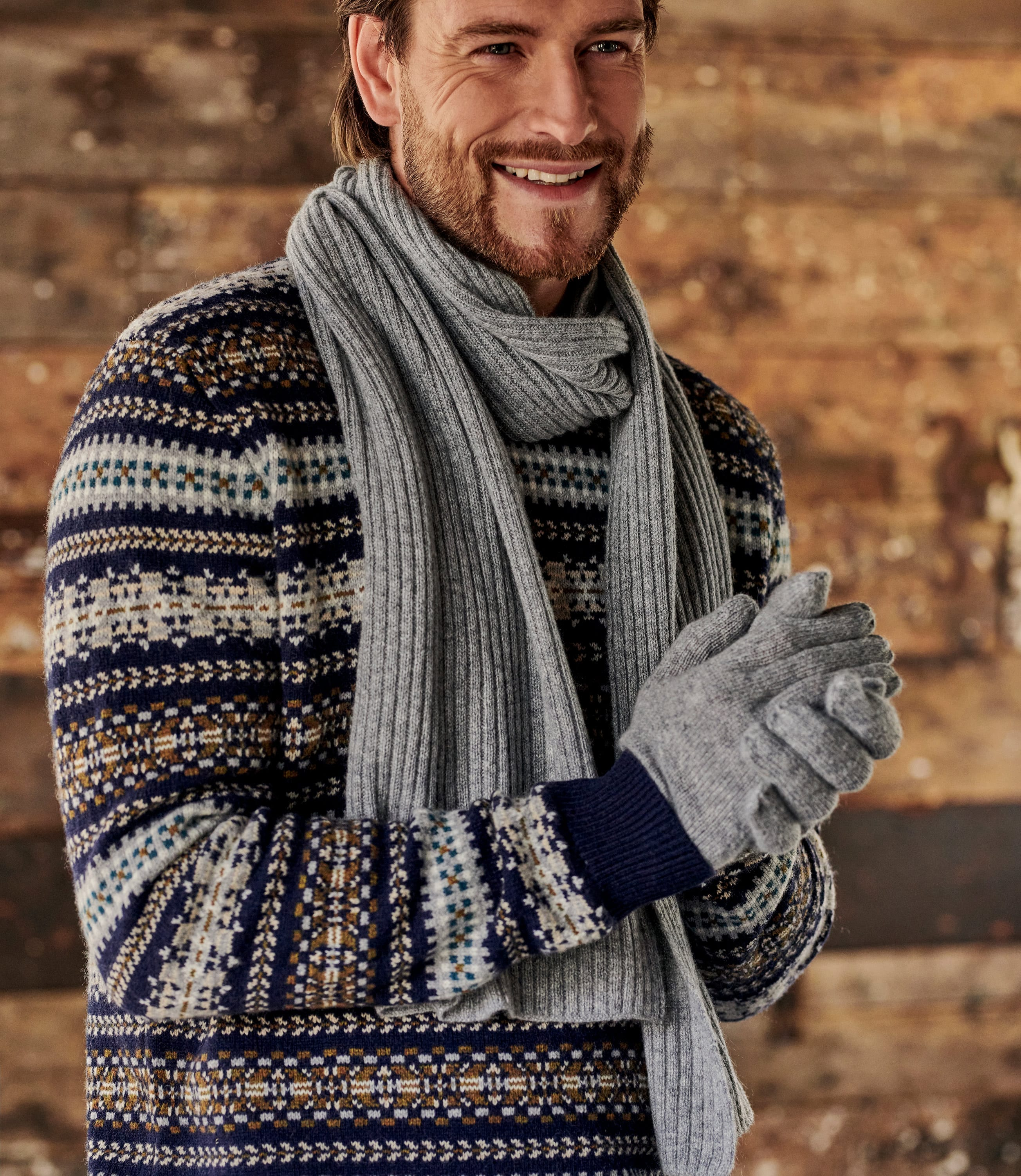 Mens Pure Cashmere Ribbed Scarf