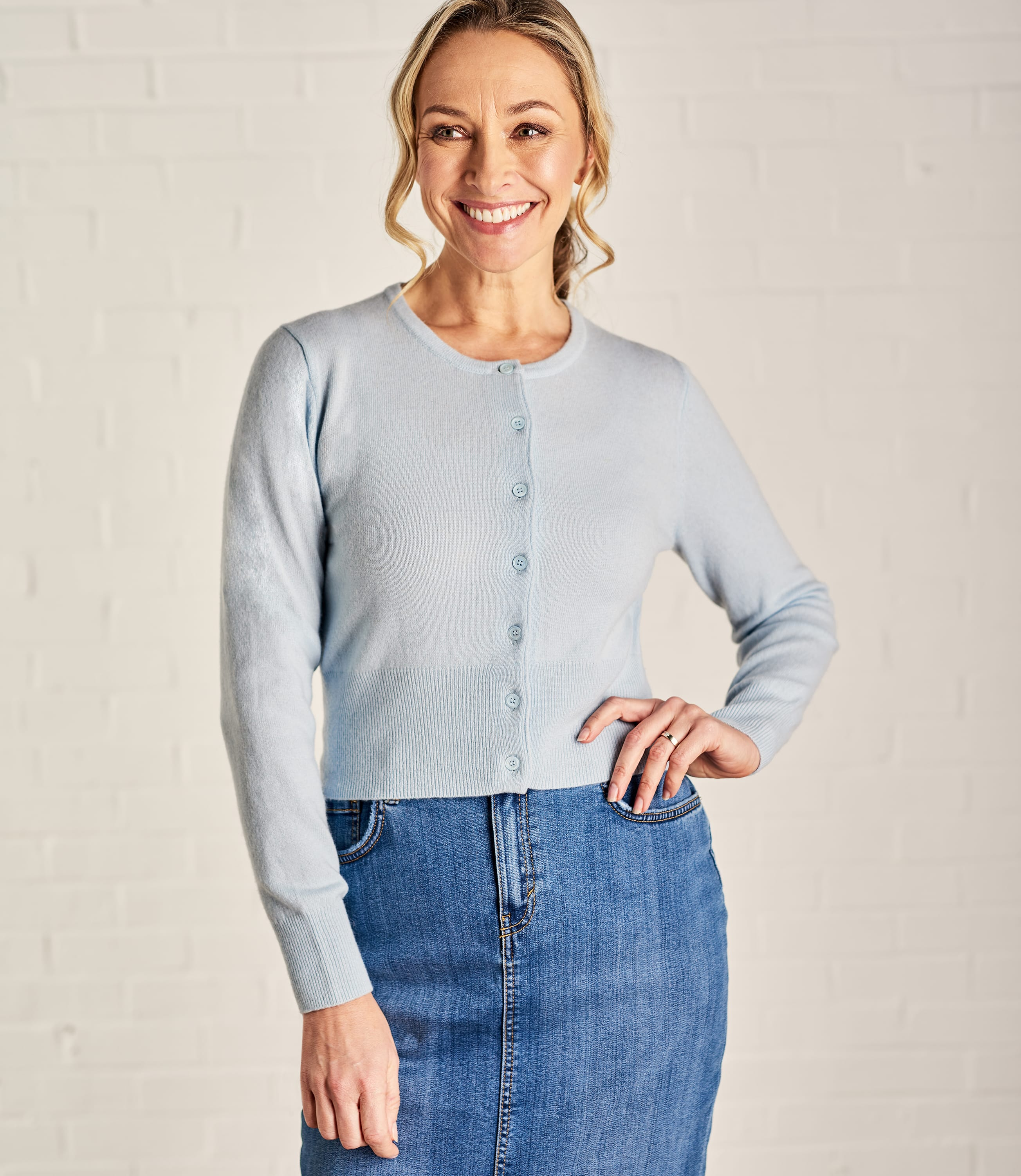 Soft Blue | Womens Crew Neck Cropped Cardigan | WoolOvers UK