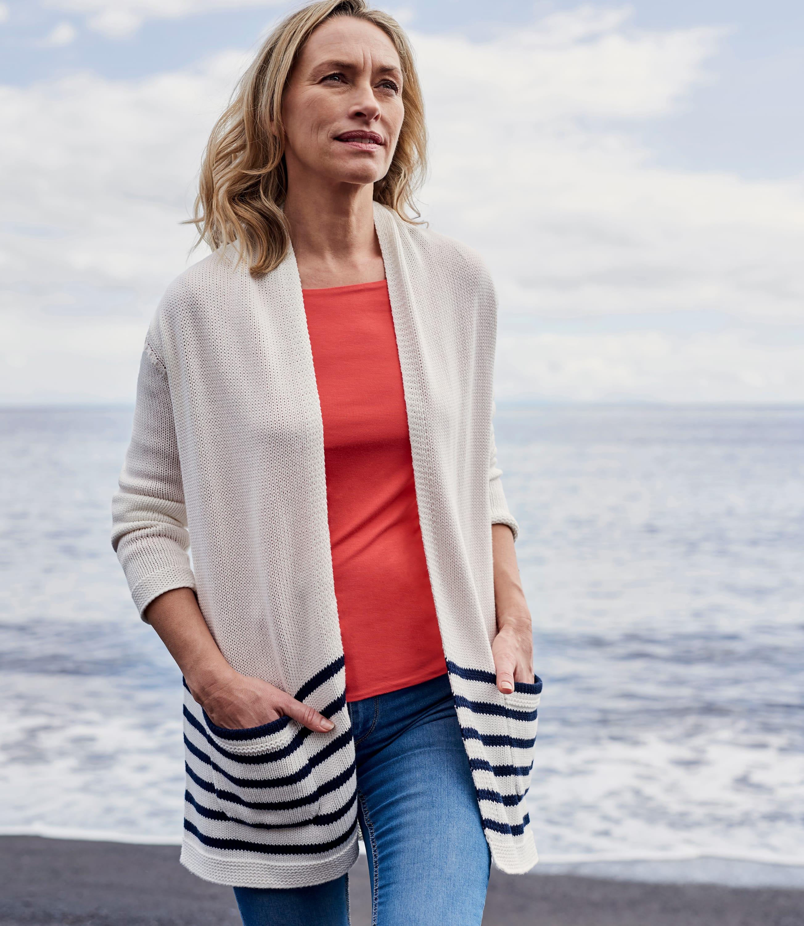 Womens Cotton Stripe Long Cardigan