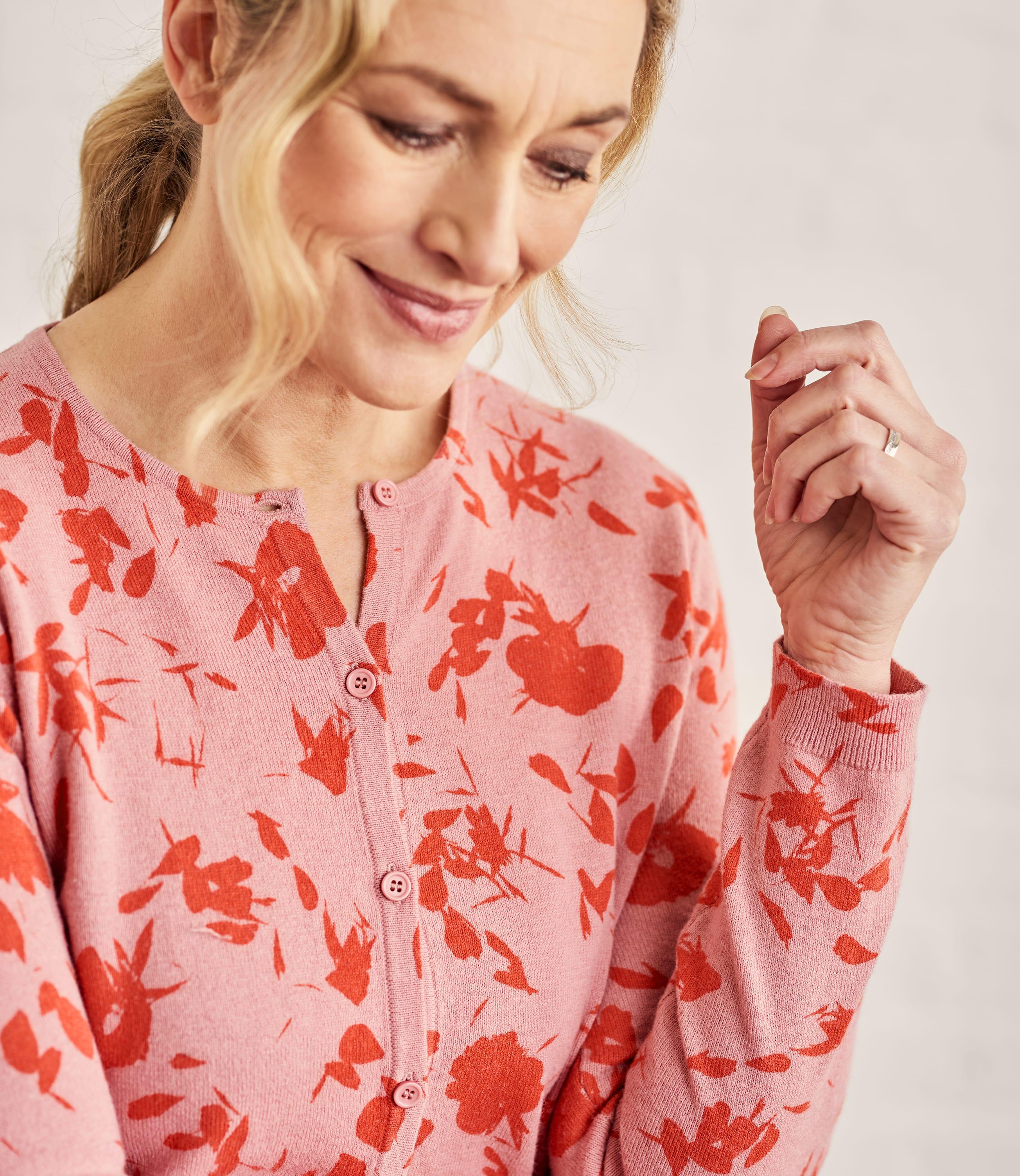 Womens Cotton Blend Print Cardigan
