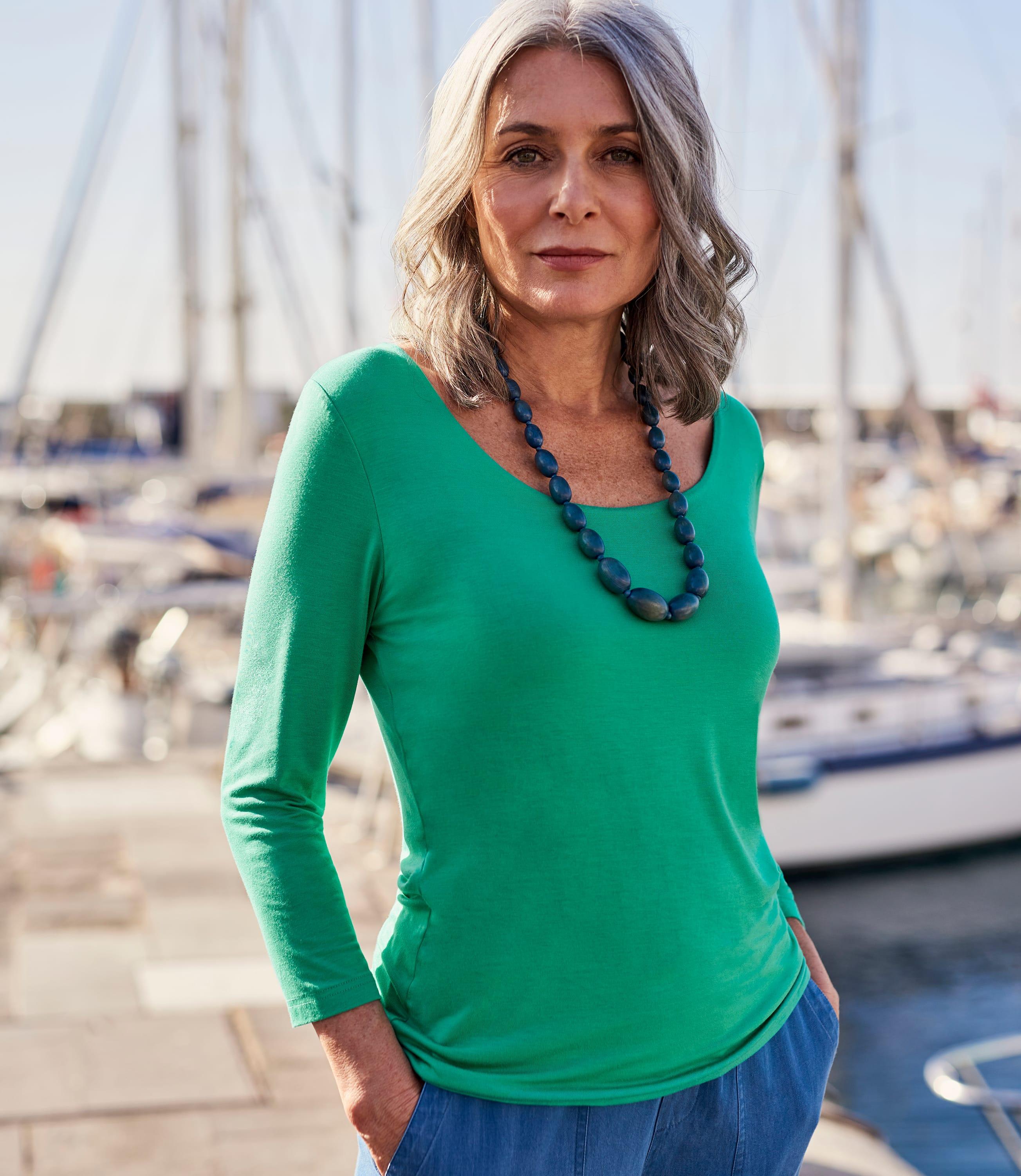 Womens Jersey 3/4 Sleeve Scoop T-Shirt