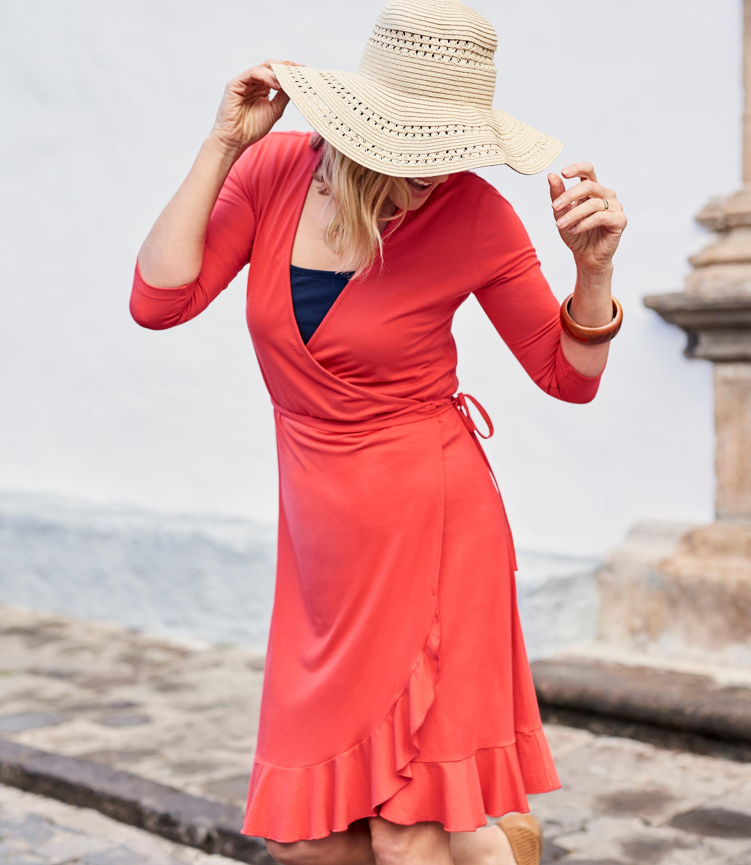Womens Frill Wrap Dress