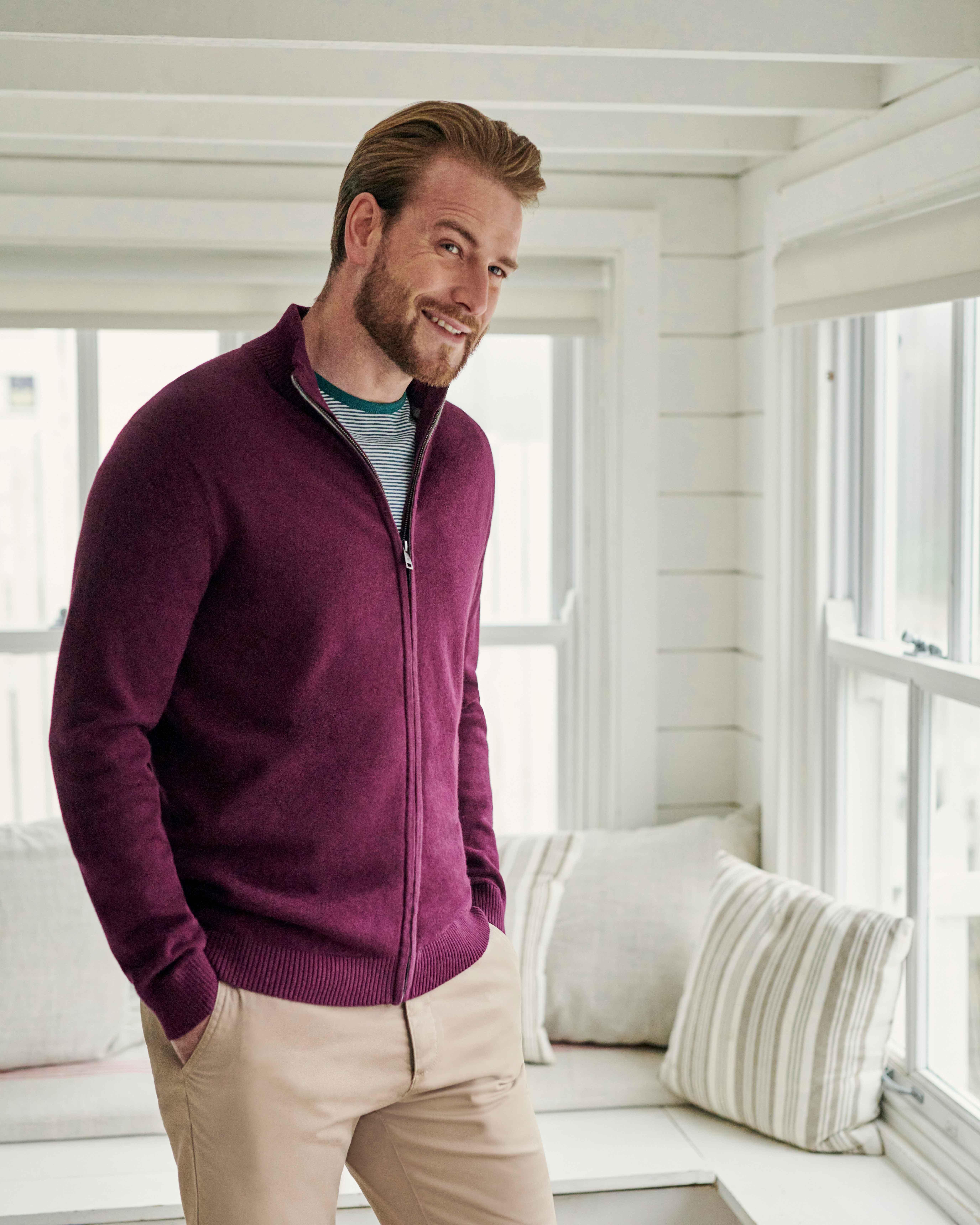 Organic Cotton Cashmere Zip Through Cardigan