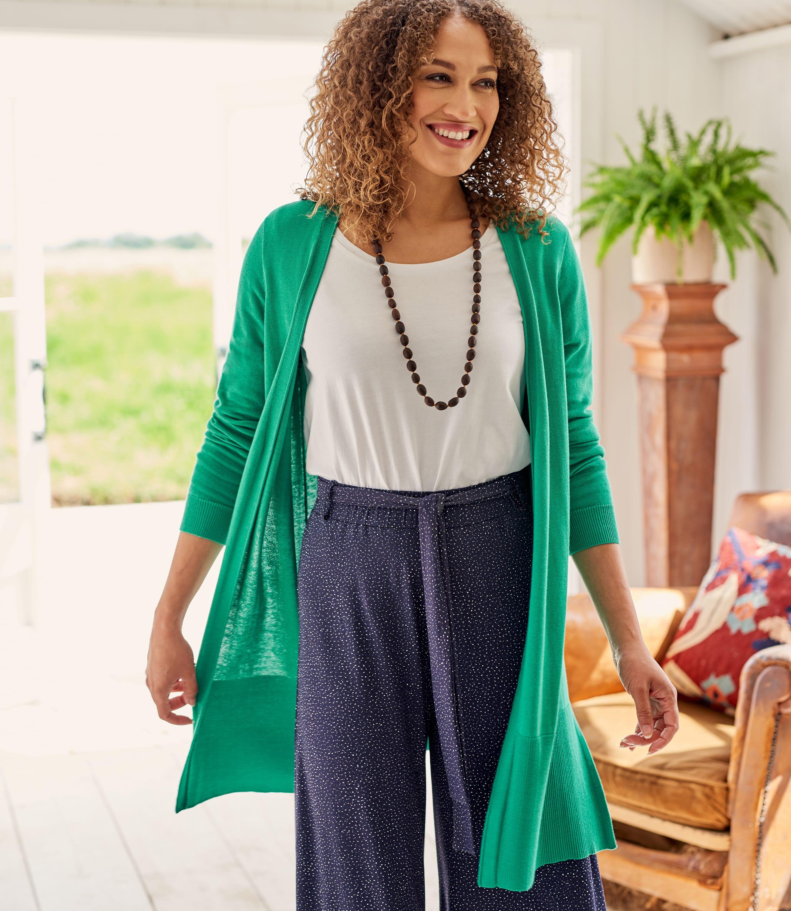Womens Cotton Blend Long Line Deep Rib Cardigan