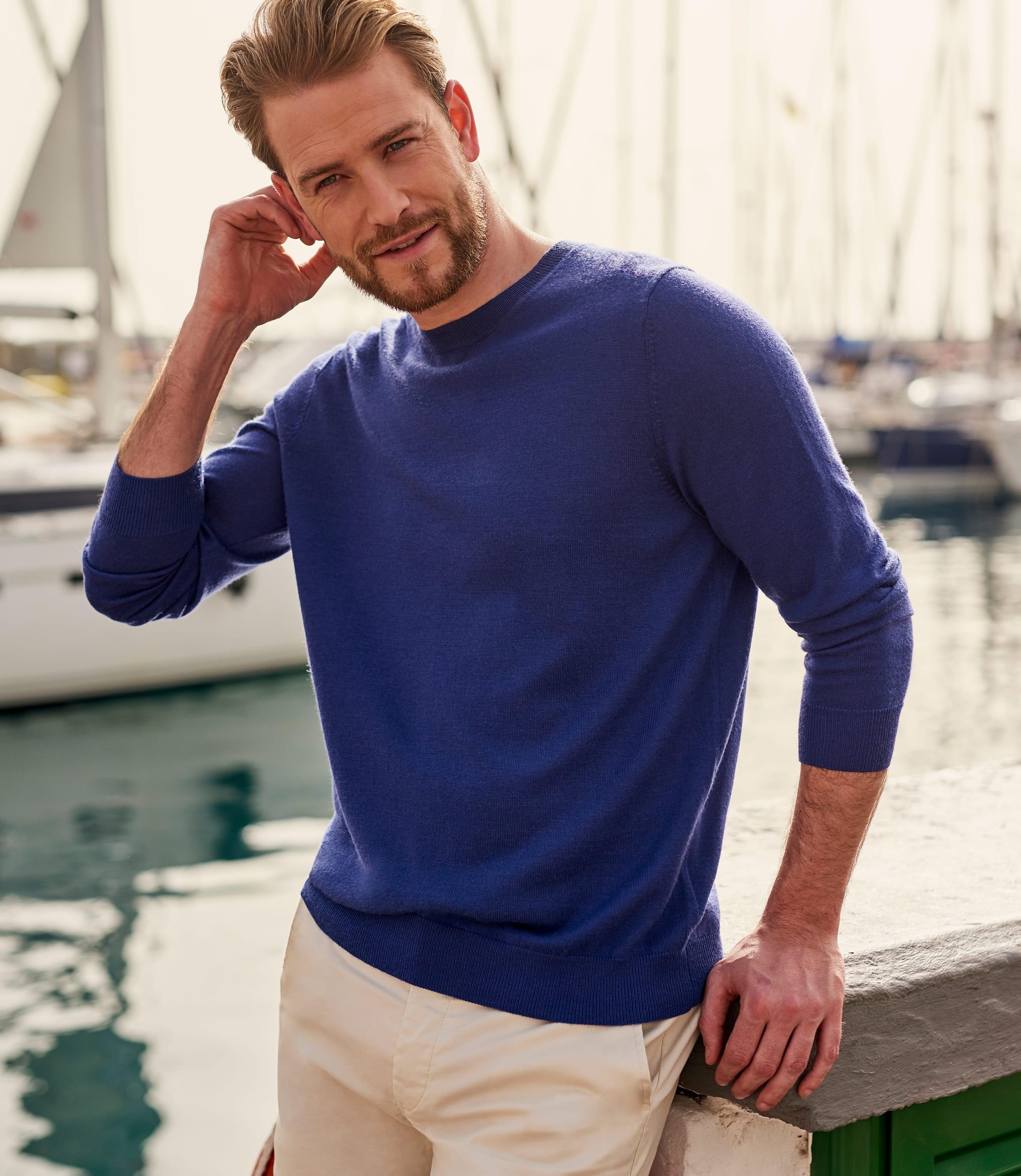Mens Luxurious Merino Crew Neck Sweater