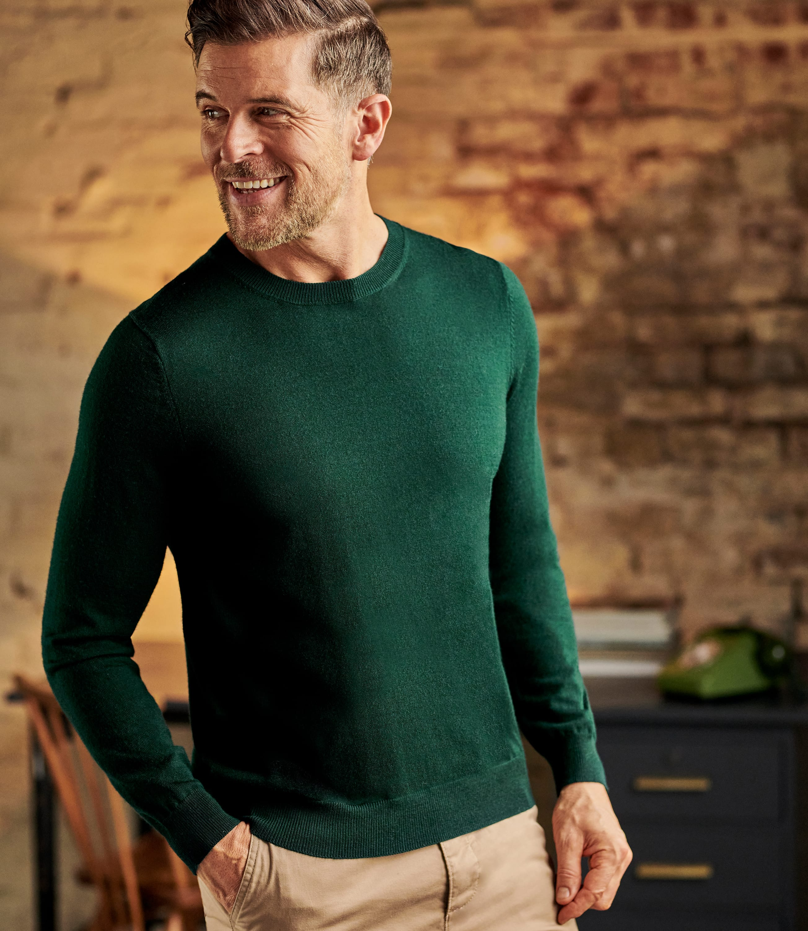 Mens Luxurious Merino Crew Neck Jumper