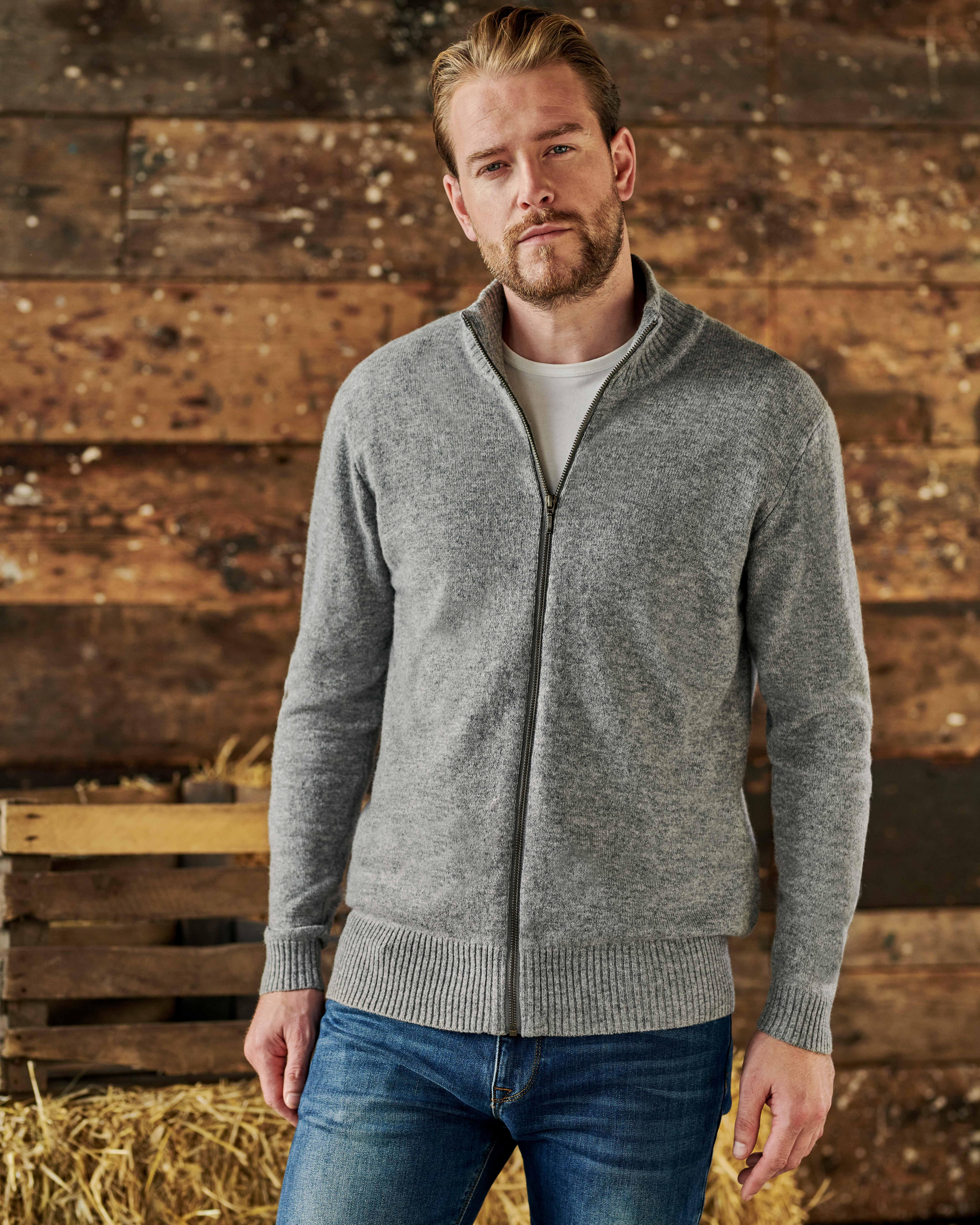 Pure Lambswool Lincoln Zipper Cardigan