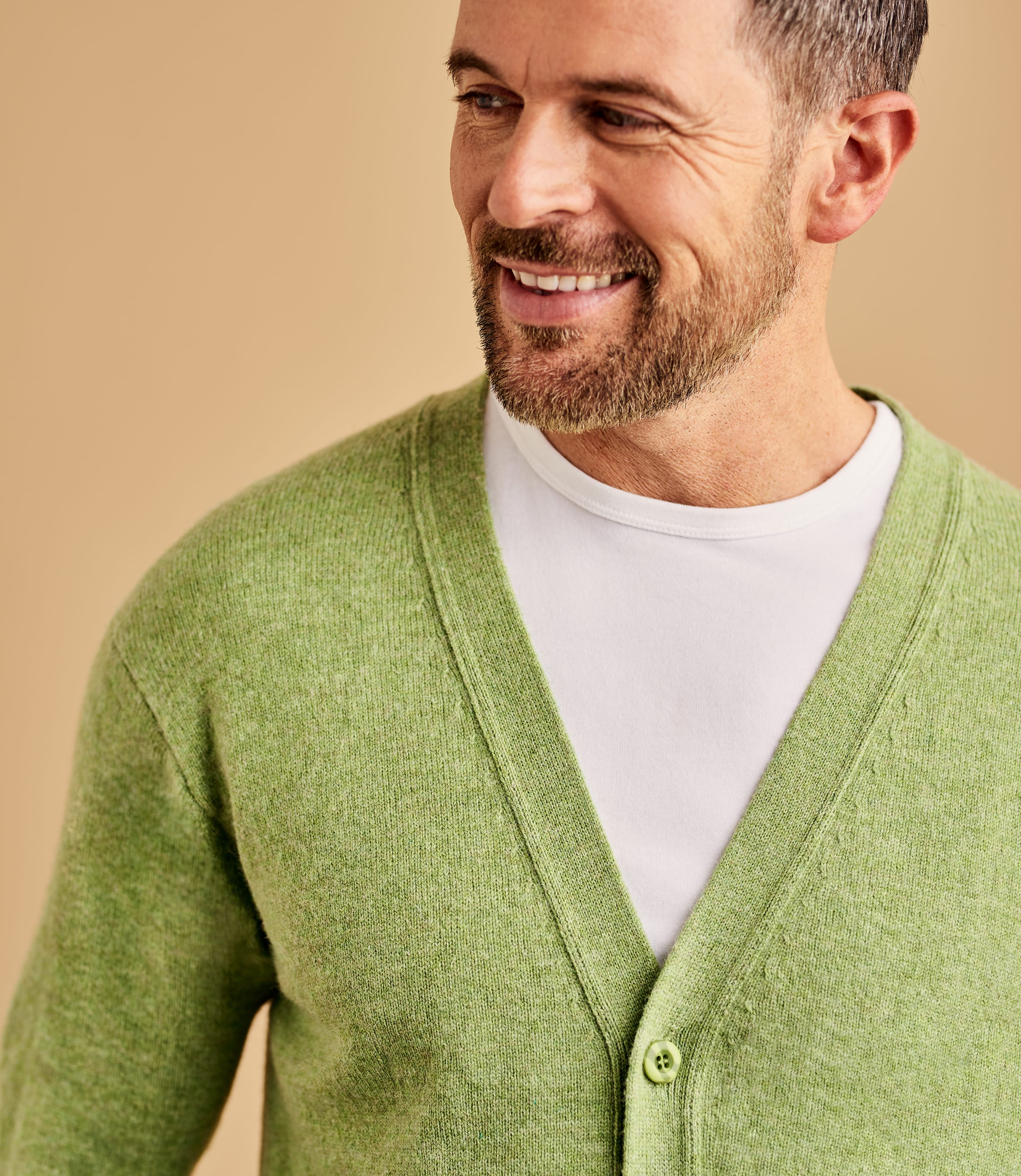 Mens Lambswool V Neck Cardigan