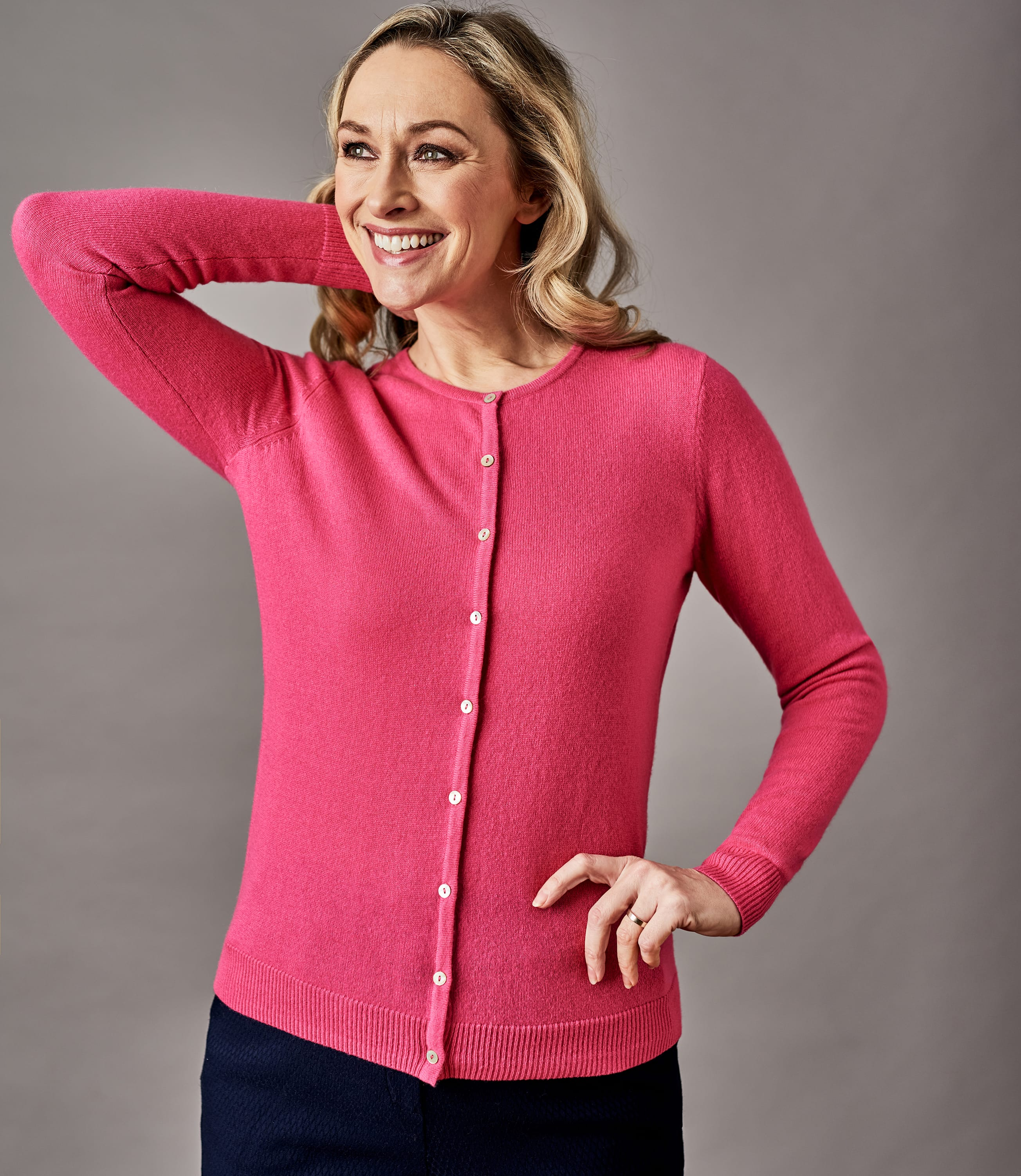 Womens Pure Cashmere Crew Neck Cardigan