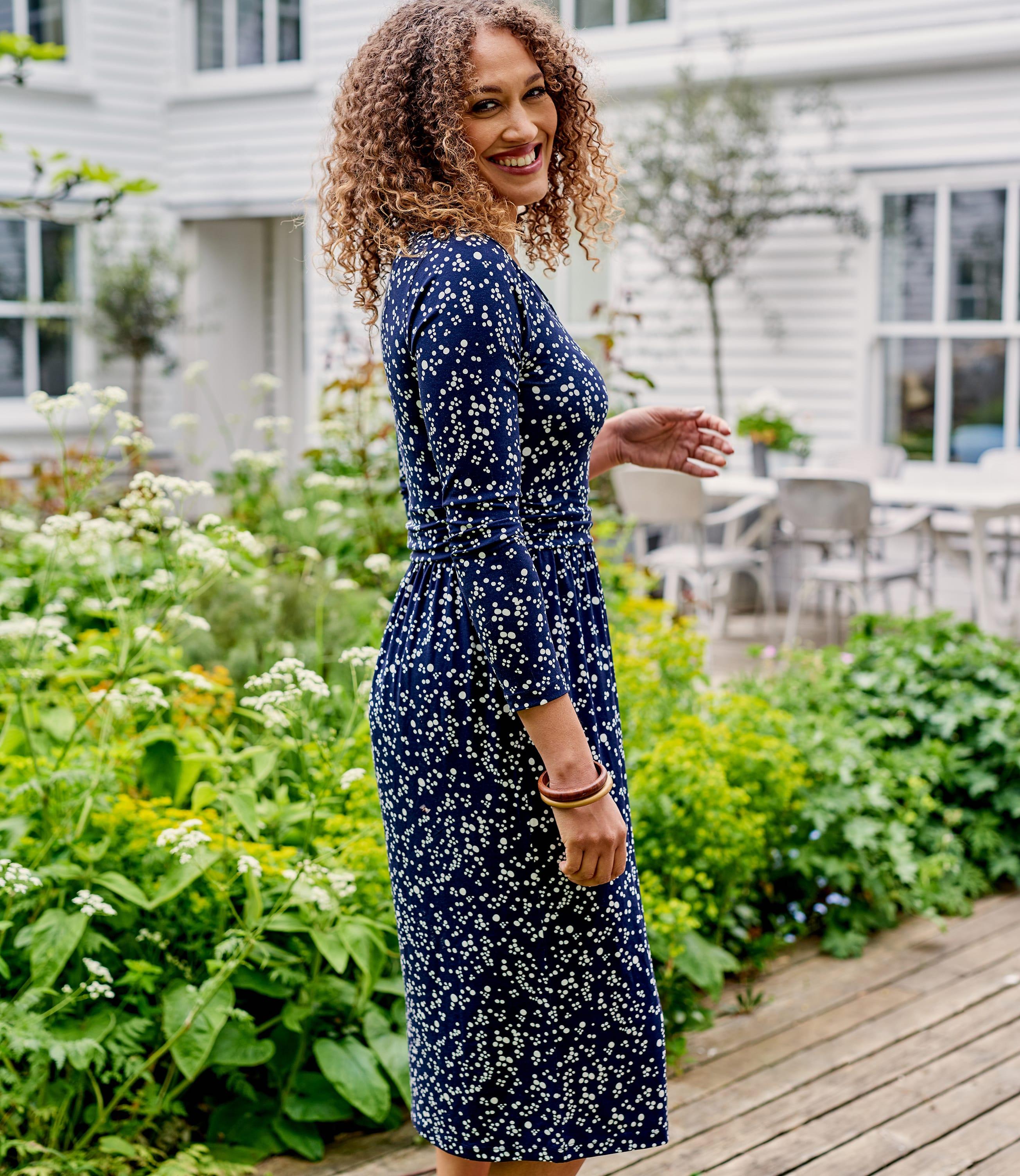 Womens Jersey Ruched Waist Dress