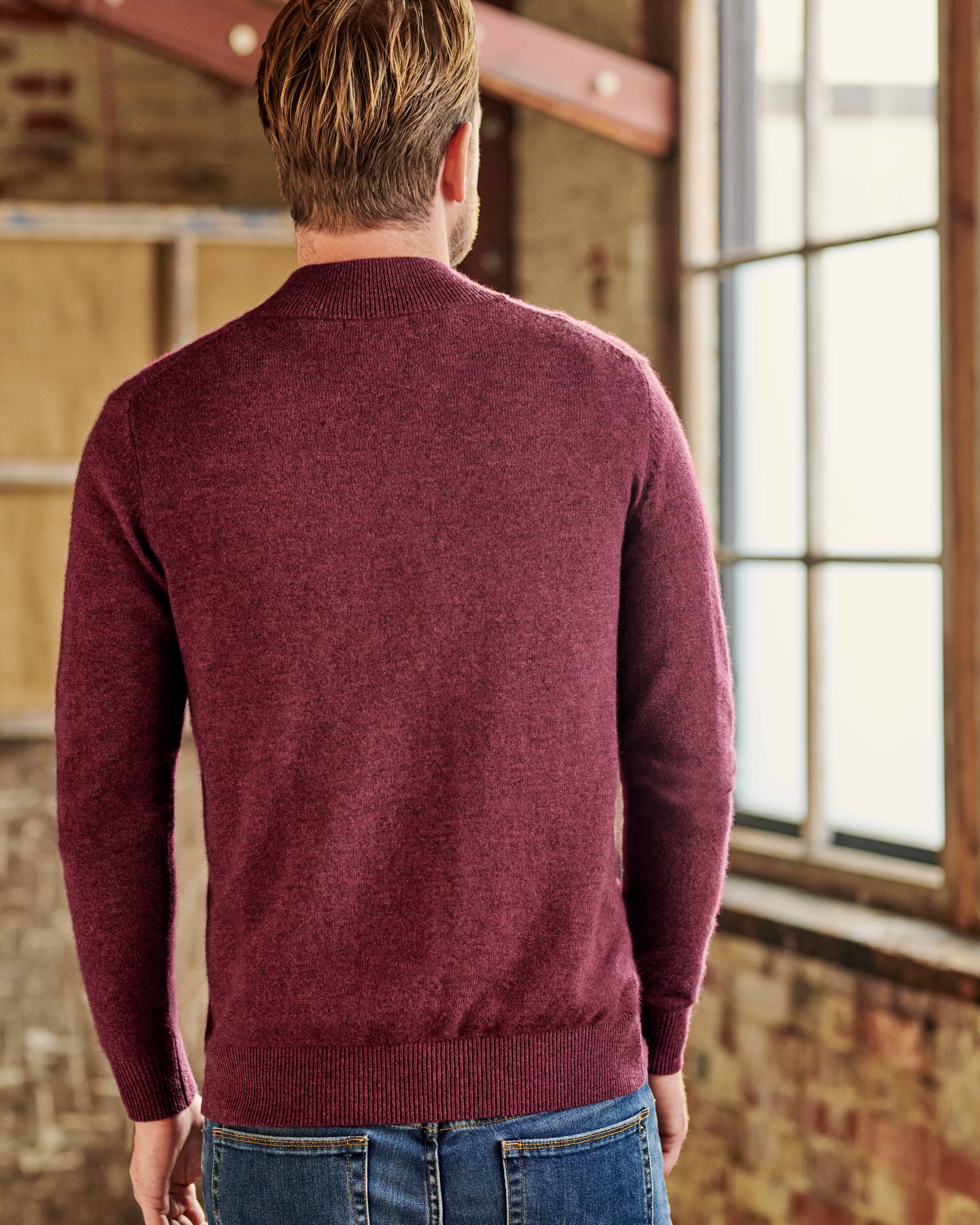 Cashmere and Merino Zip Neck Sweater