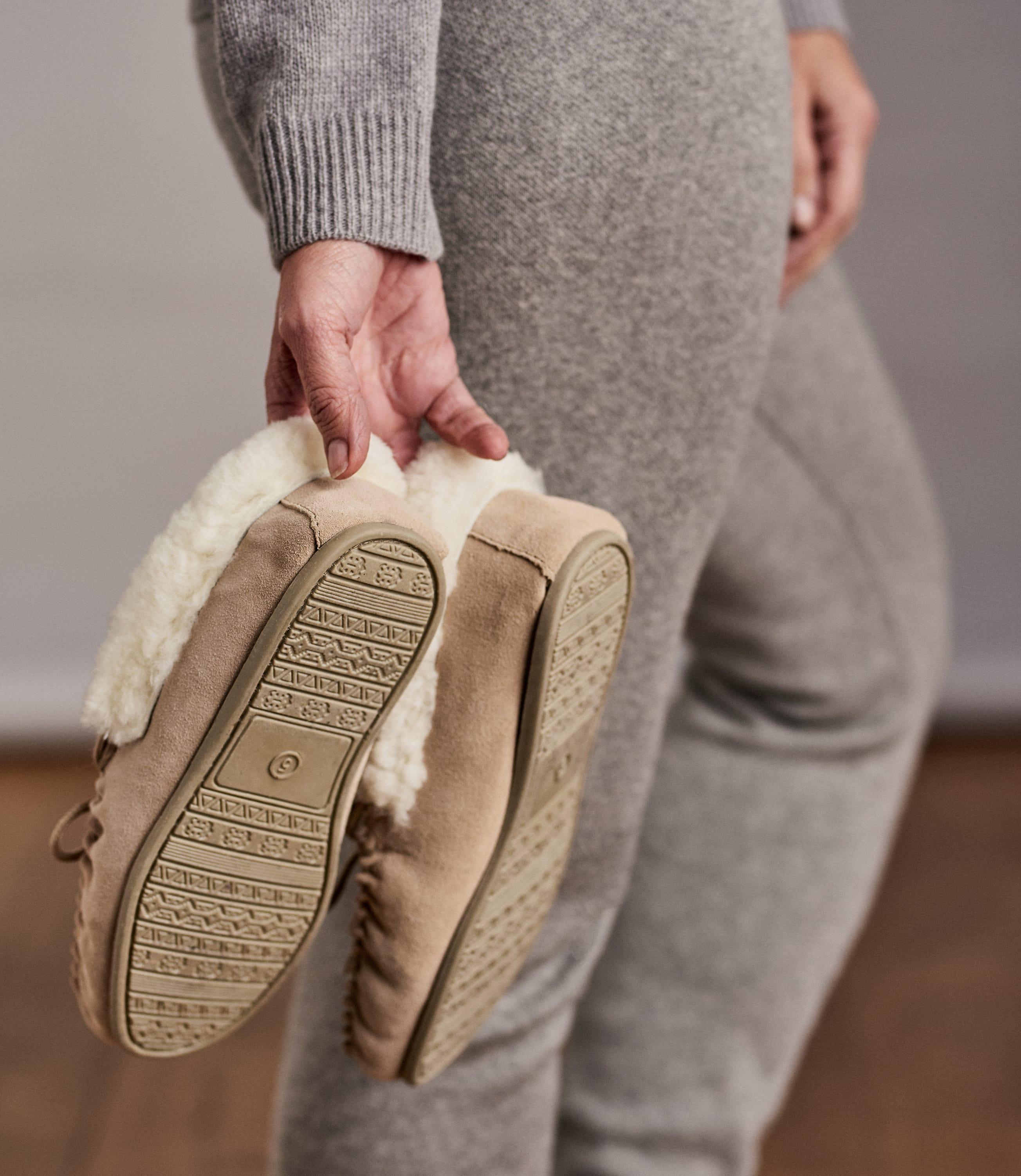Womens Sheepskin Hard Sole Moccasin Slipper