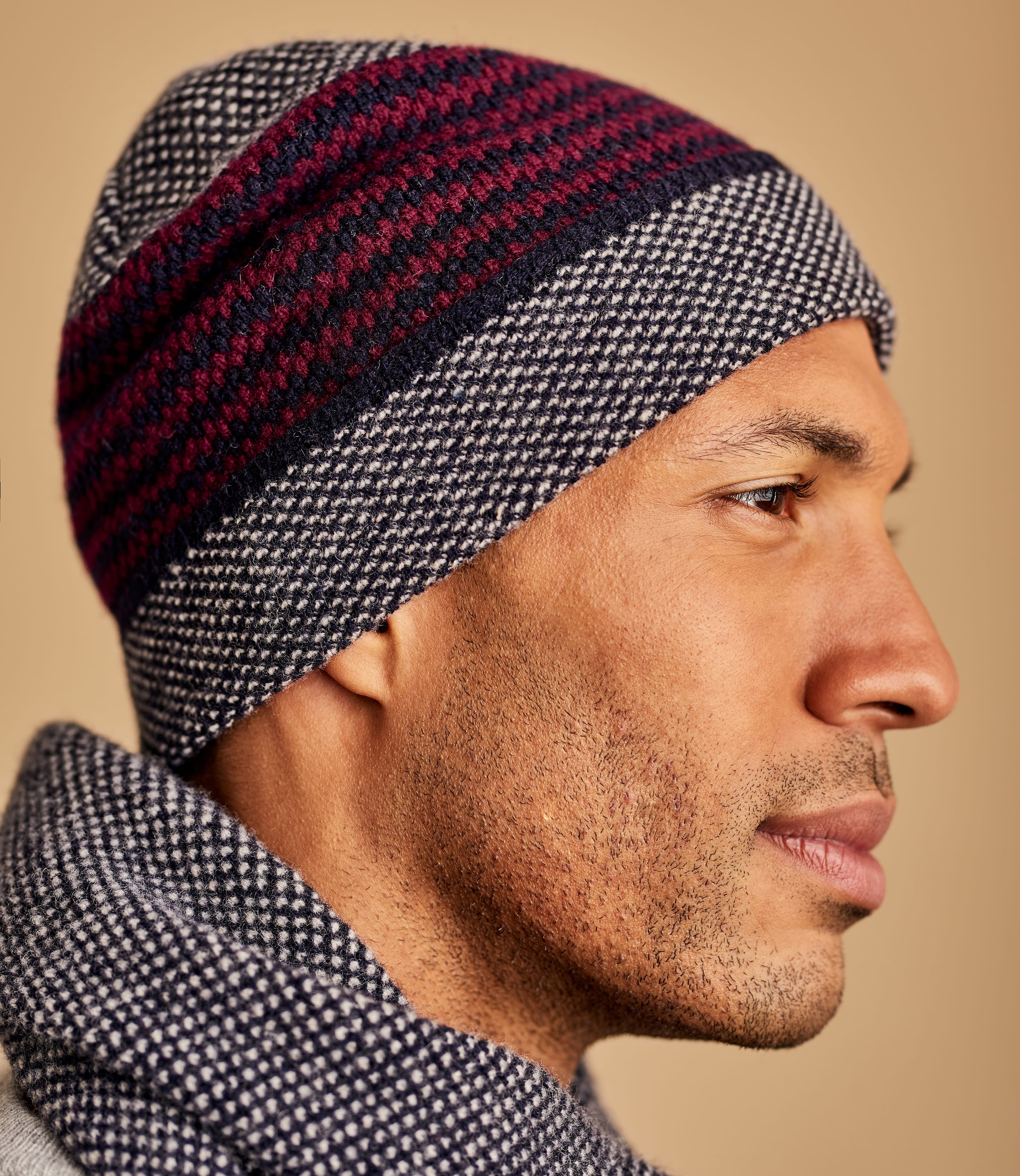 Mens Lambswool Stitch And Stripe Hat