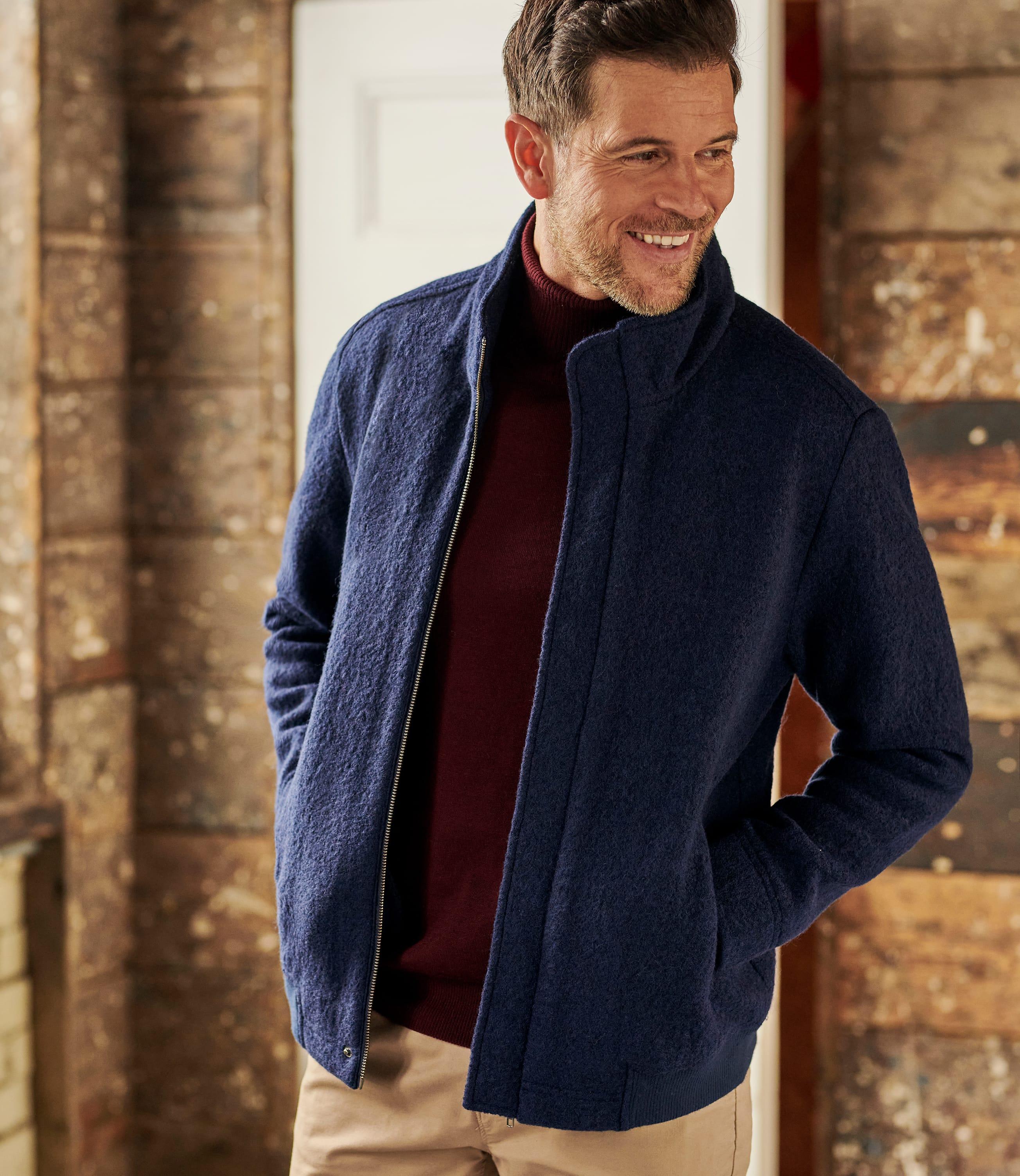 Navy Pure Wool | Mens Boiled Wool Jacket