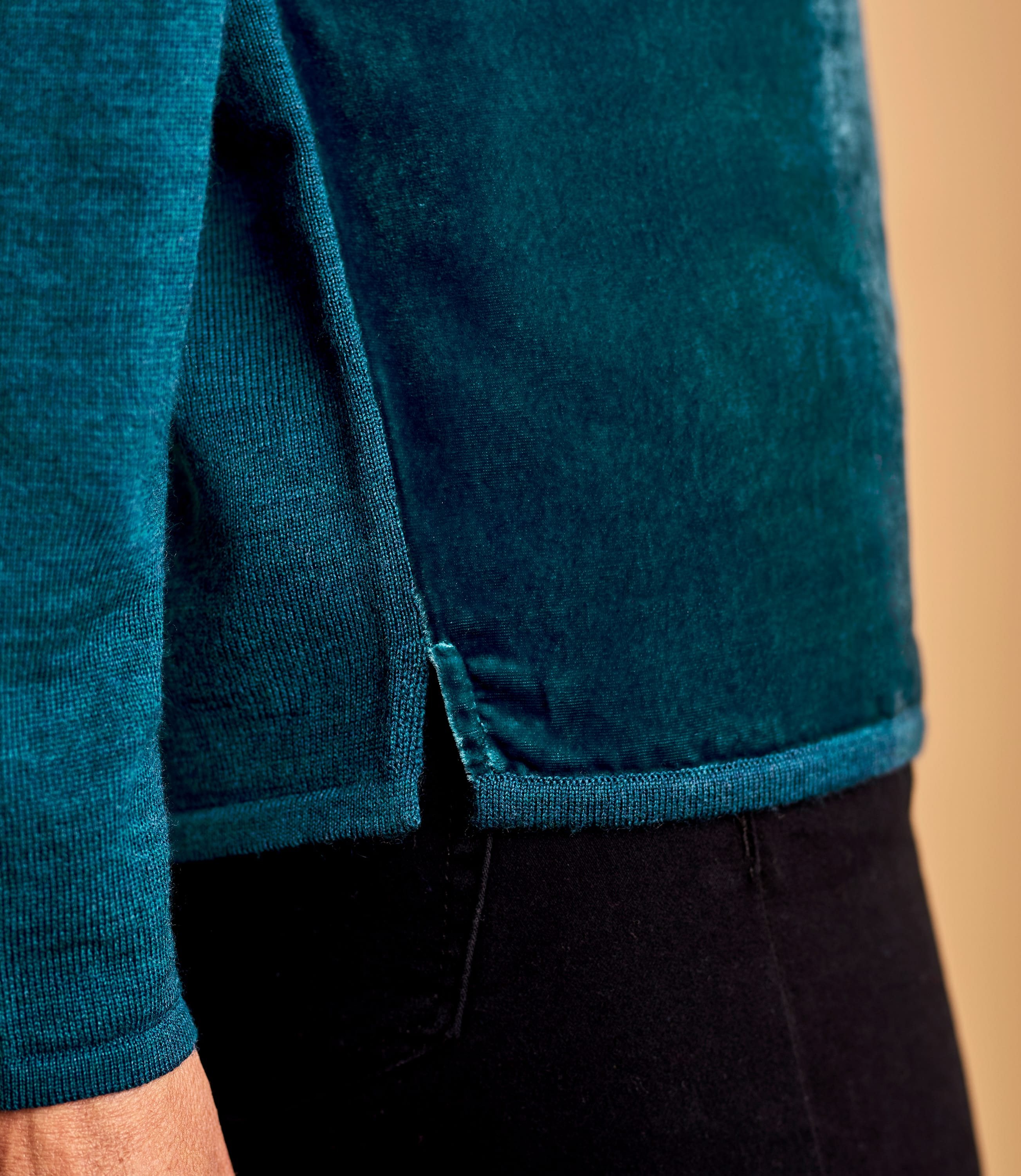 Womens Silk Blend Velvet Panel Top