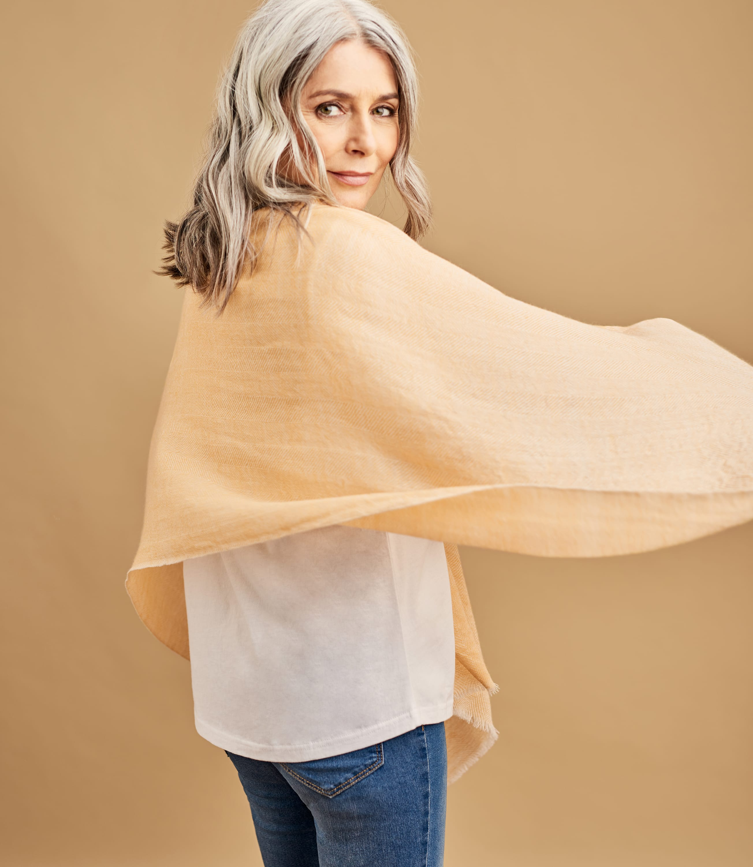 Womens Wool Herringbone Pashmina