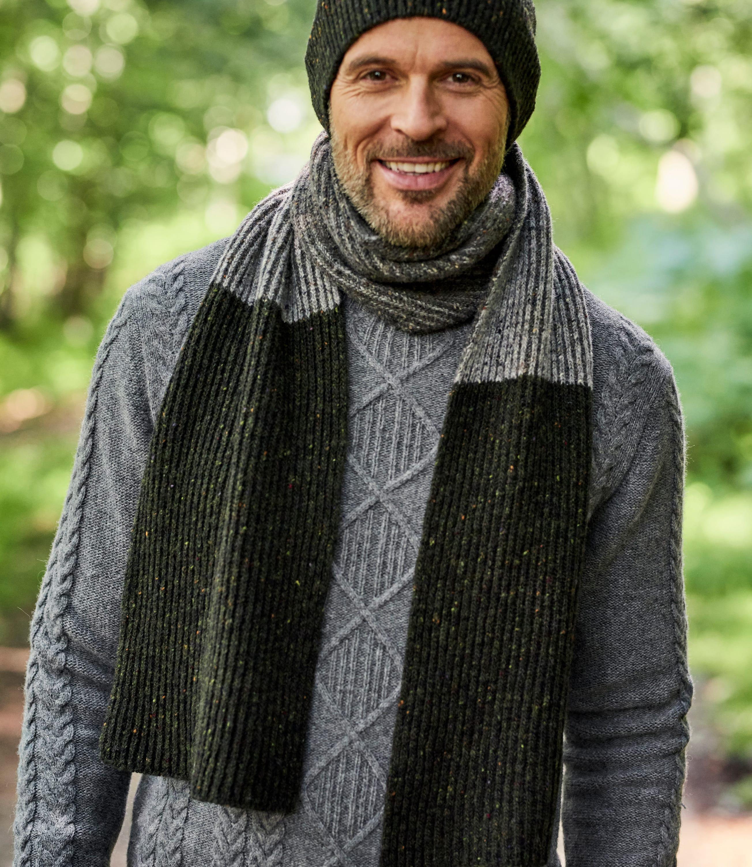 Mens Donegal Tweed Look Scarf